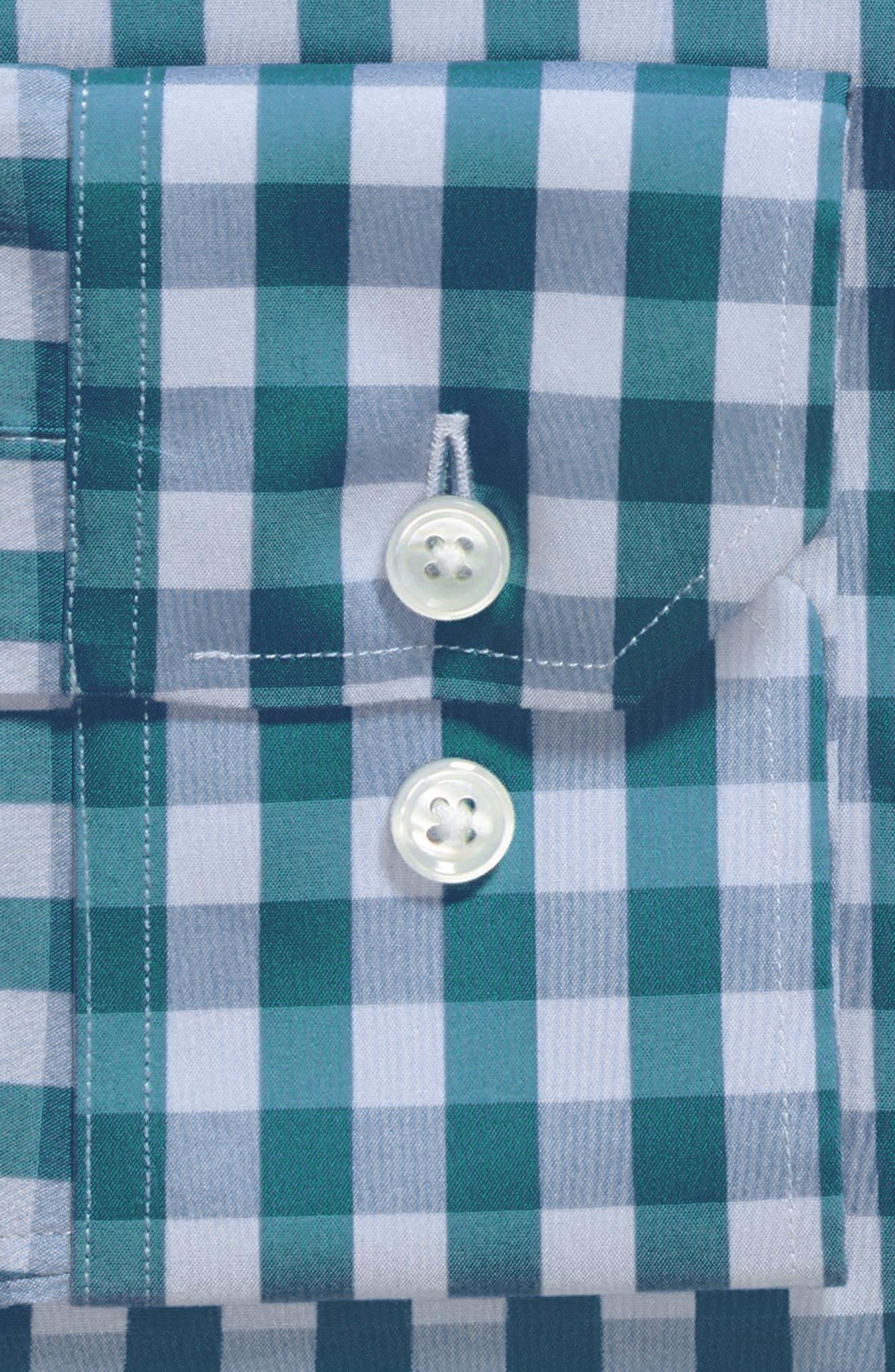 Port Grand Slim Fit Stretch Check Dress Shirt,                             Alternate thumbnail 6, color,                             TEAL