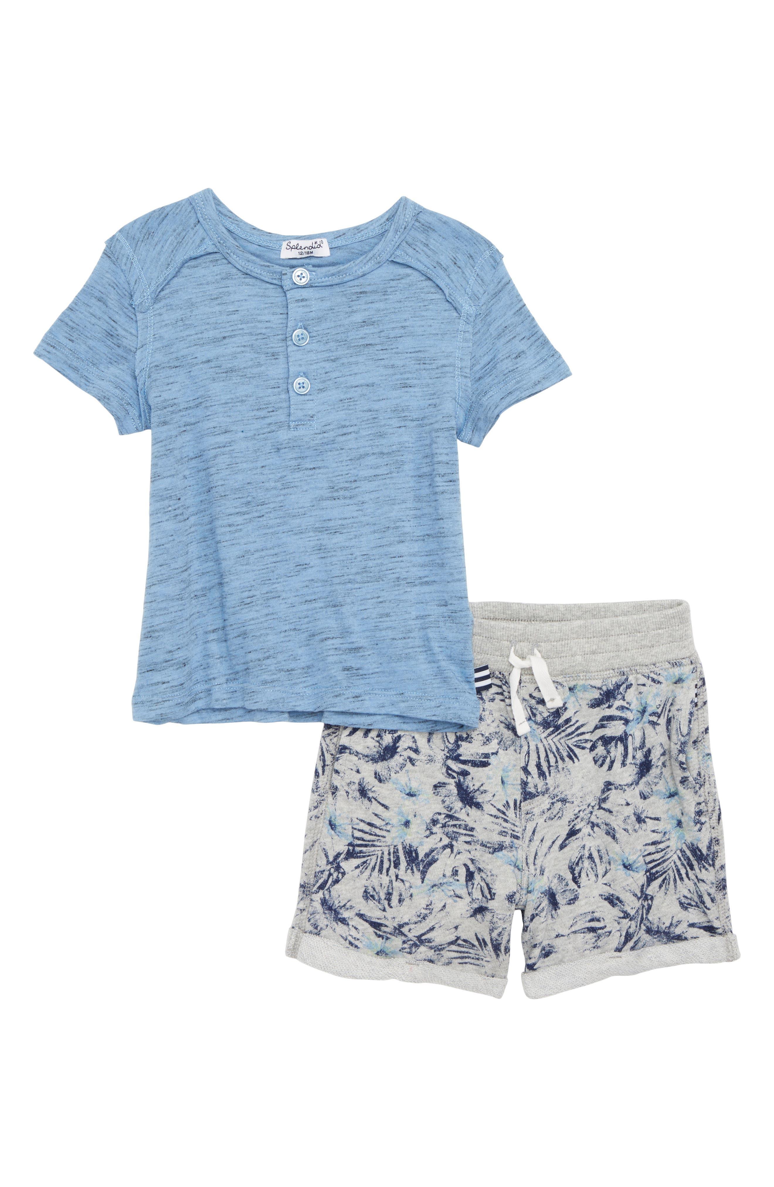 Henley T-Shirt & Print Shorts,                             Main thumbnail 1, color,                             430