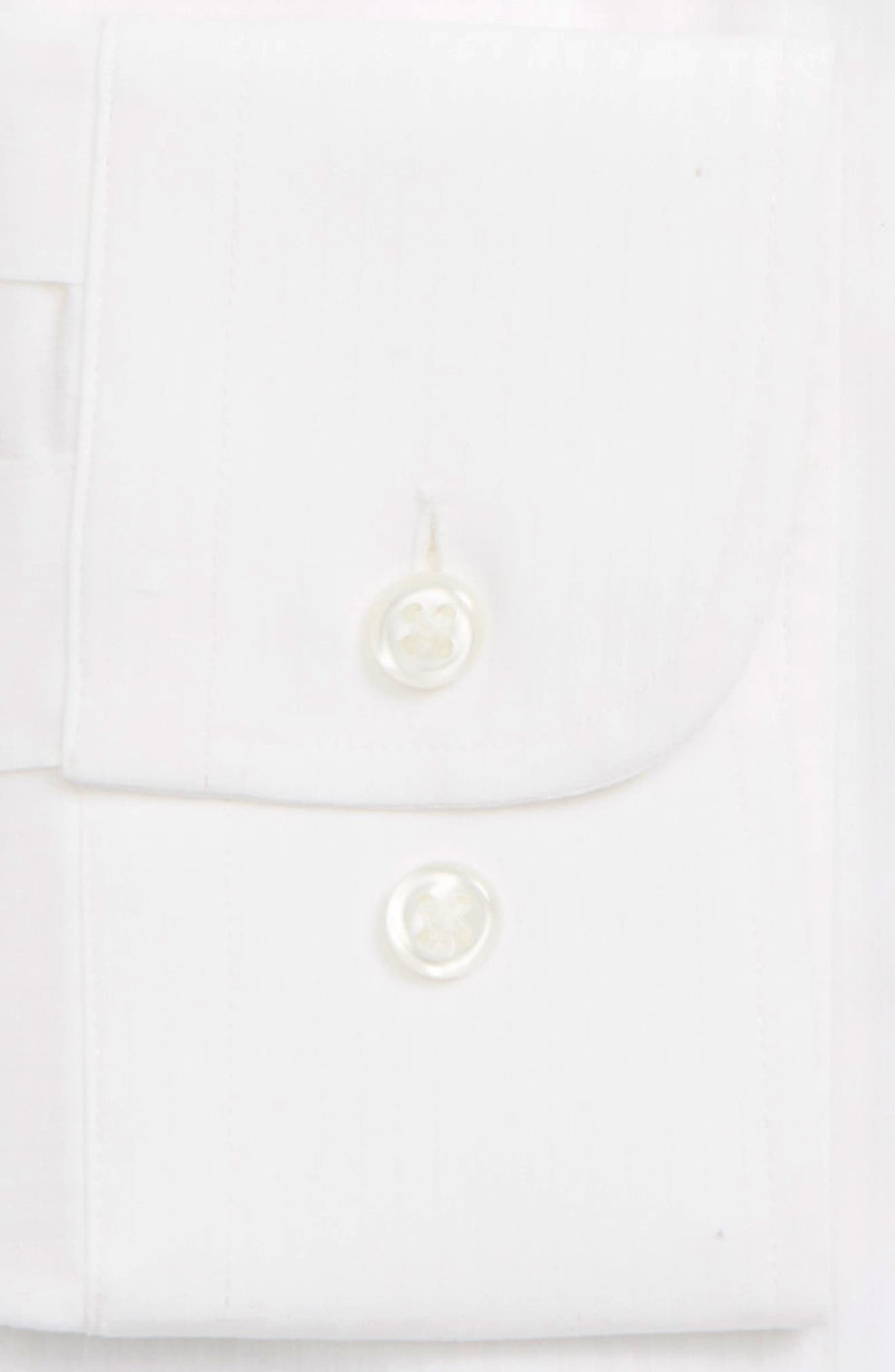 Tech-Smart Trim Fit Stretch Stripe Dress Shirt,                             Alternate thumbnail 2, color,                             WHITE