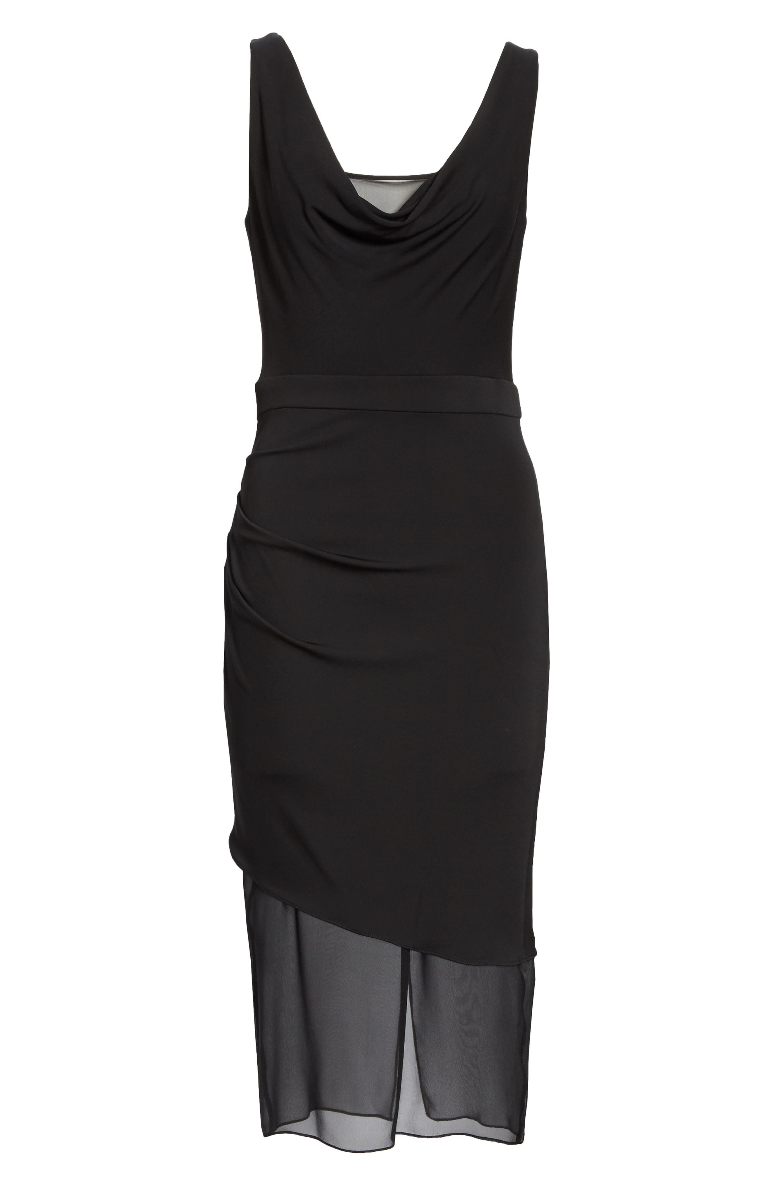 CUSHNIE,                             Cowl Neck Dress,                             Alternate thumbnail 7, color,                             BLACK