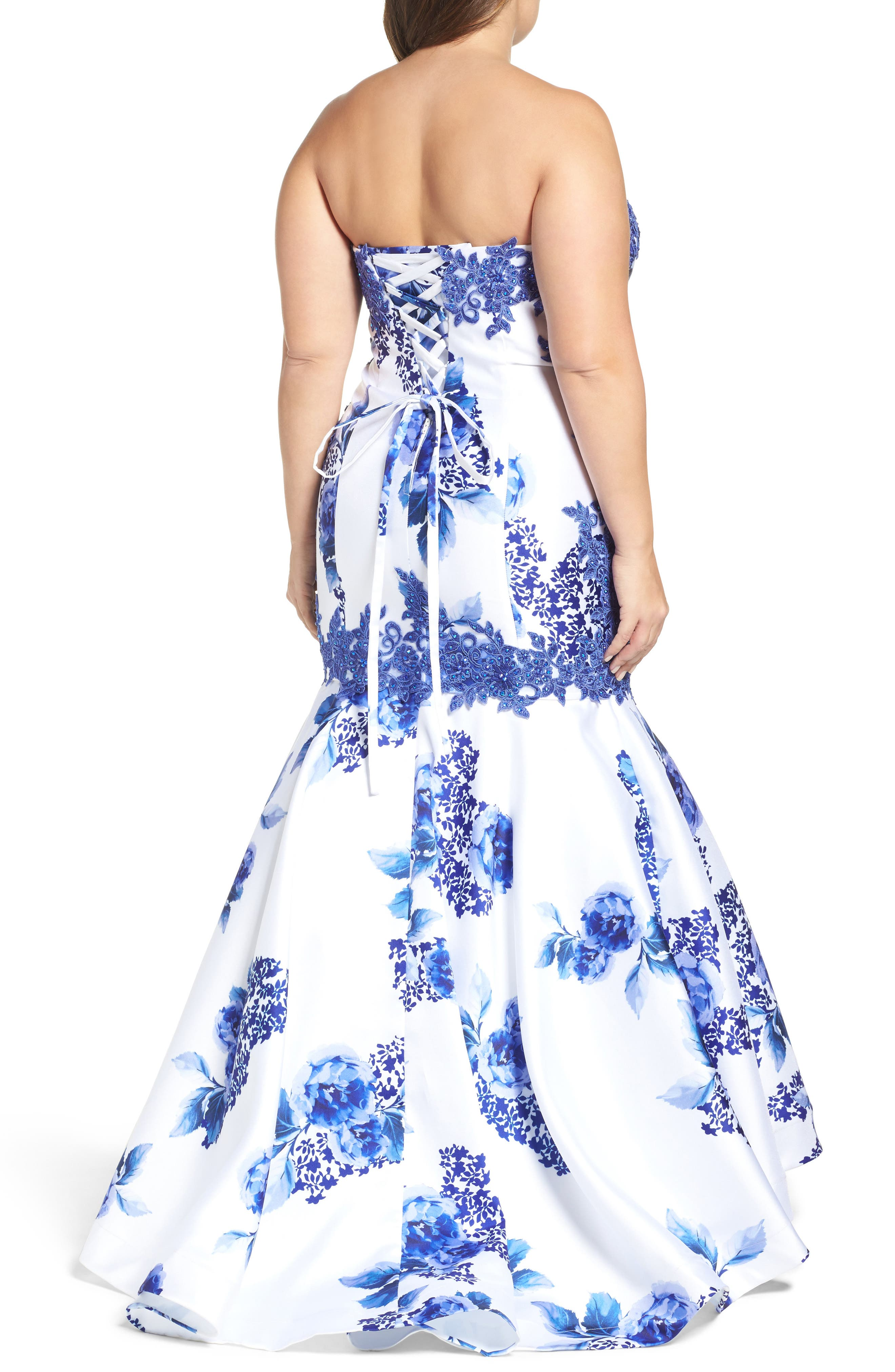 Embellished Strapless Zip Off Mermaid Gown,                             Alternate thumbnail 2, color,                             BLUE FLORAL