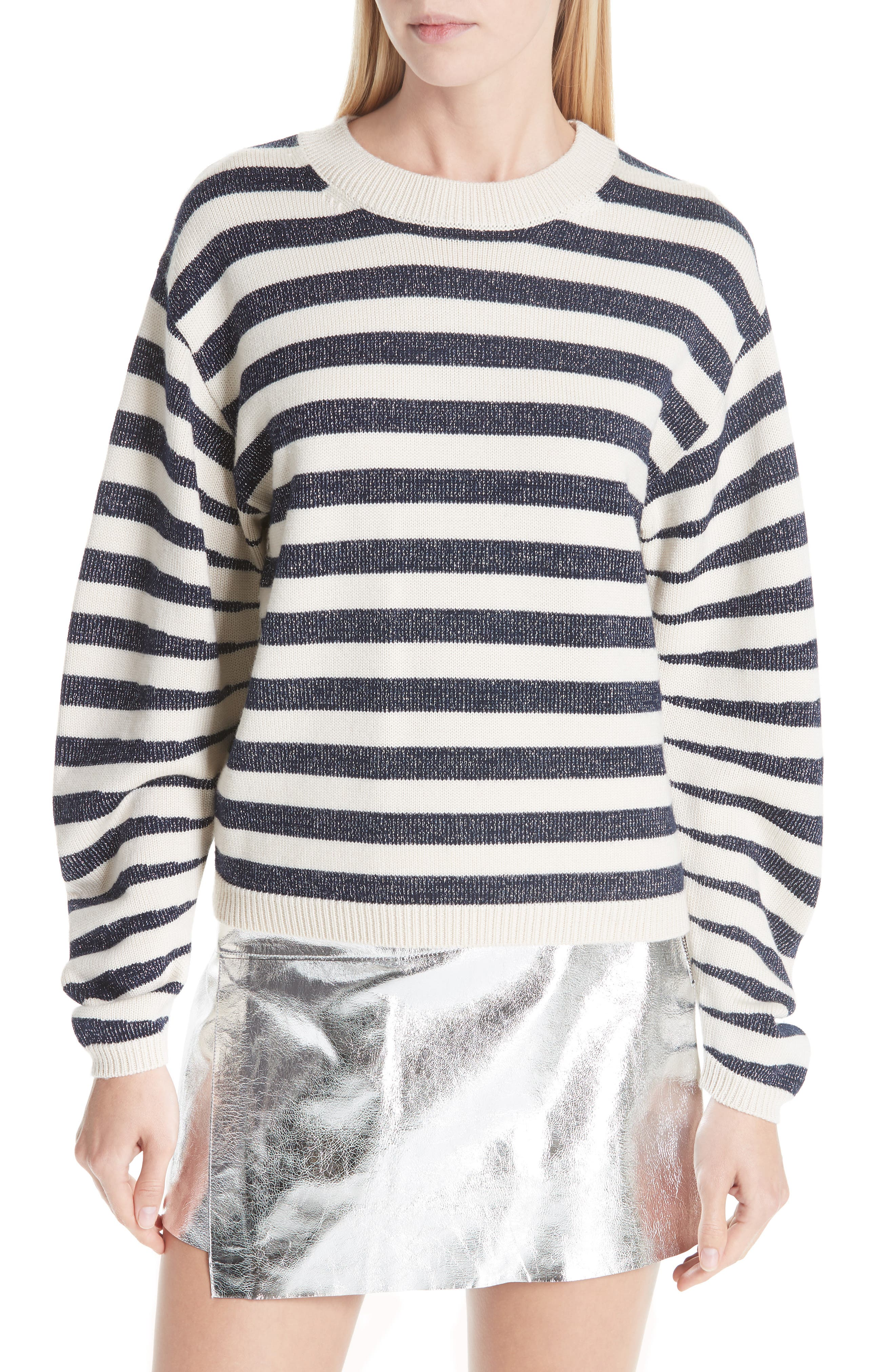 Sunday Stripe Wool Blend Sweater,                         Main,                         color, WHITE