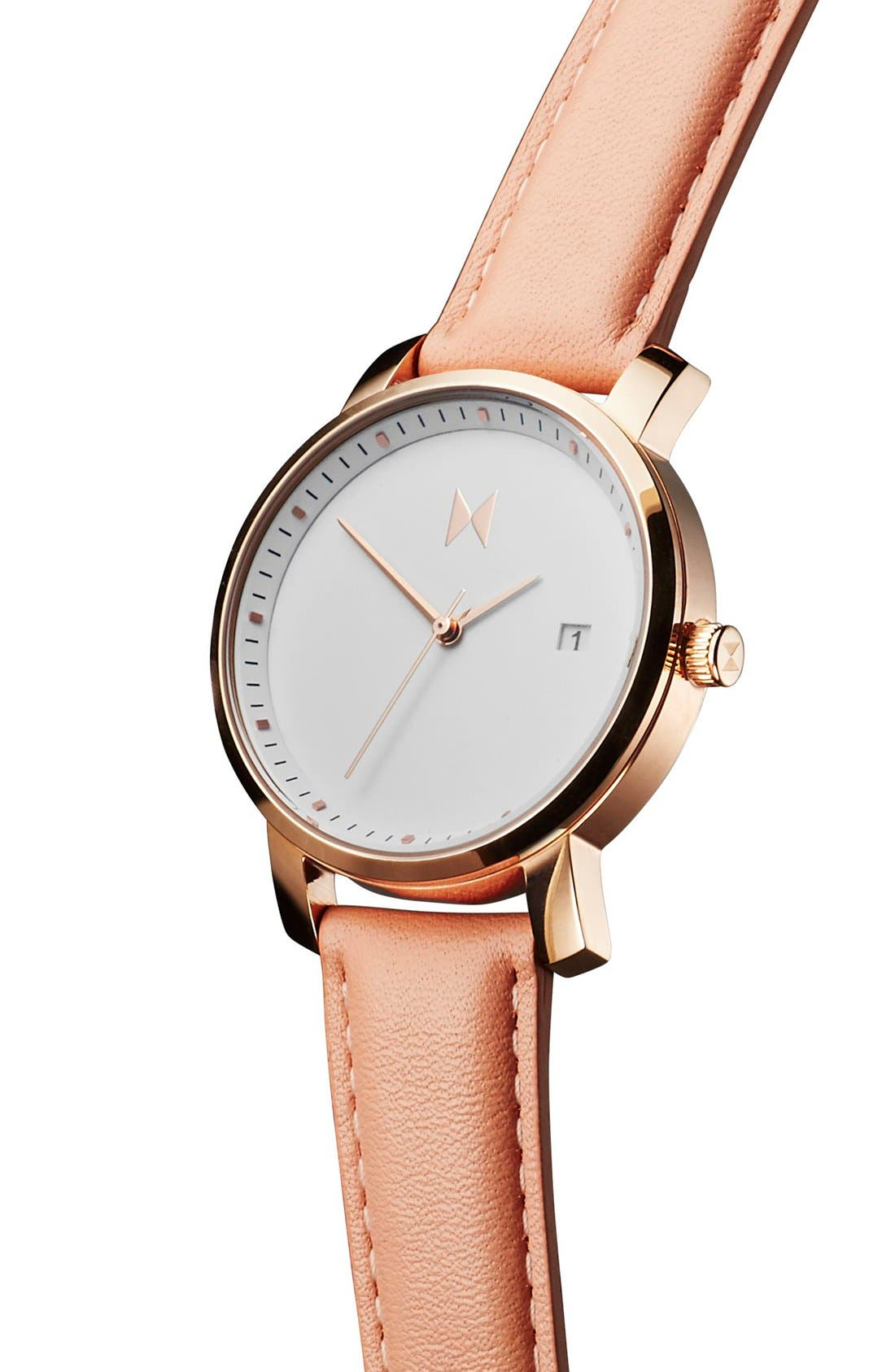 Leather Strap Watch, 38mm,                             Alternate thumbnail 4, color,                             PEACH/ WHITE