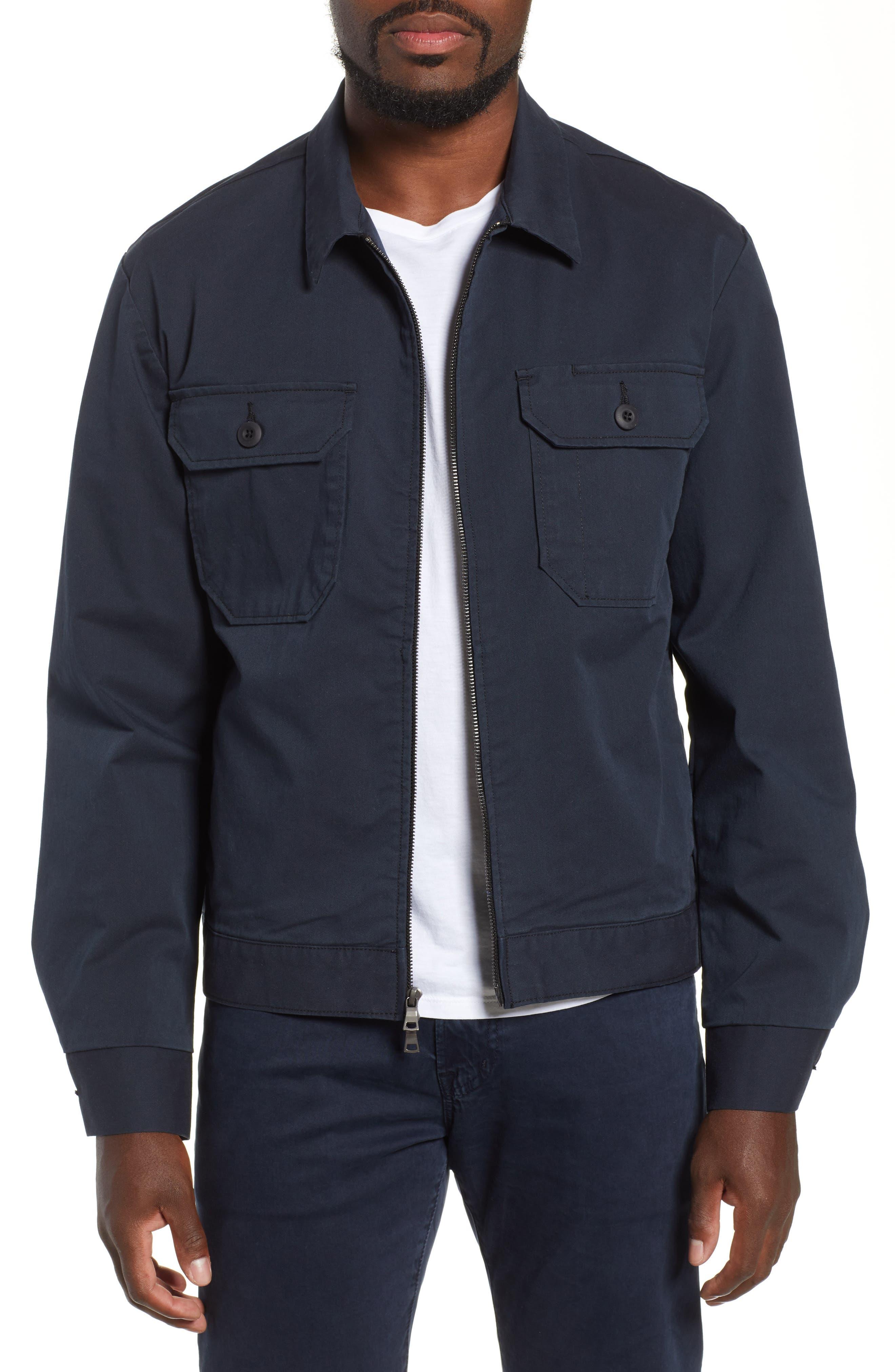 Axle Shop Regular Stretch Cotton Blend Jacket,                             Main thumbnail 1, color,                             BLUE VAULT/ BLACK