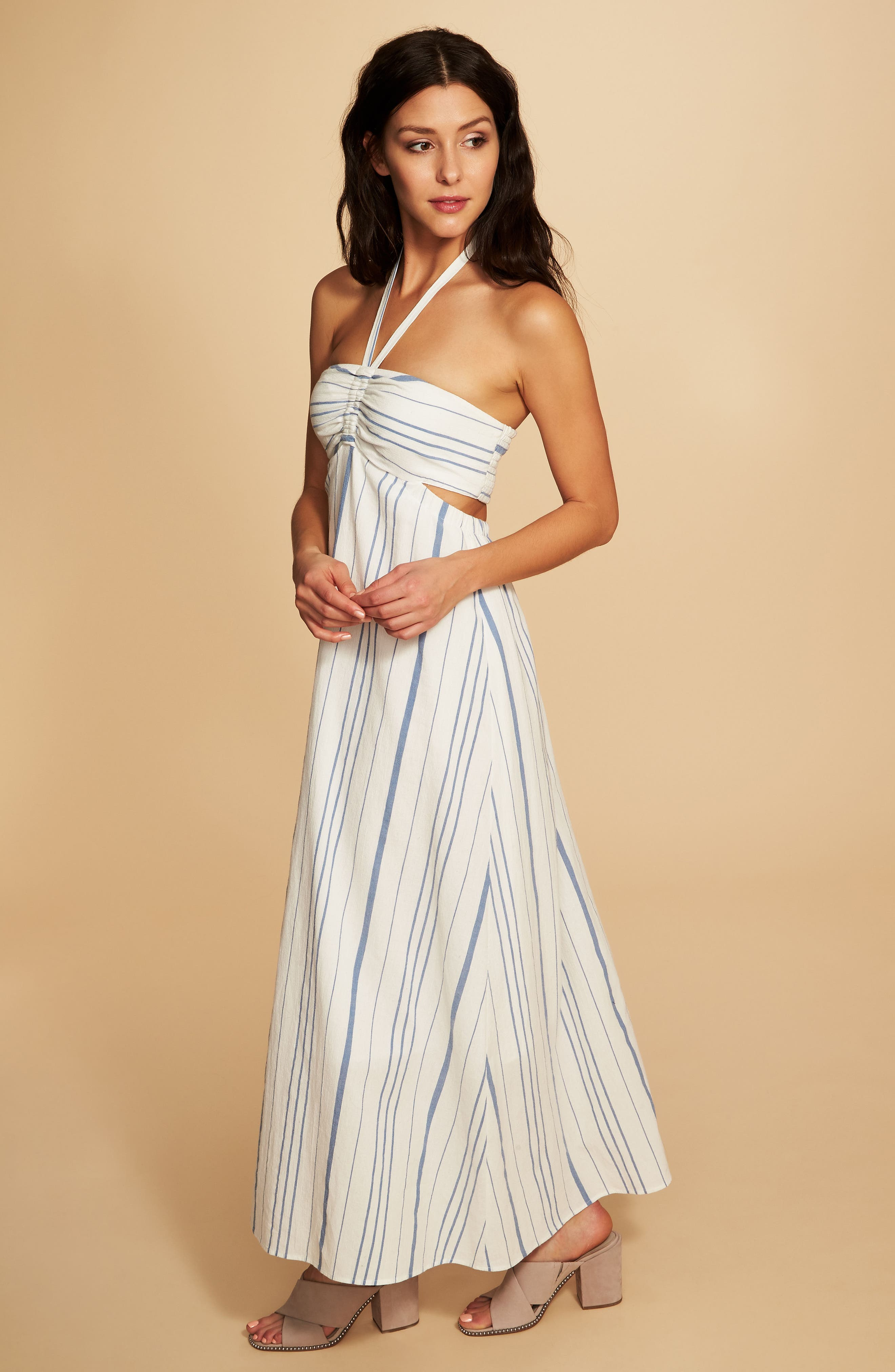 Cinched Bodice Maxi Dress,                             Alternate thumbnail 3, color,                             ANTIQUE WHITE