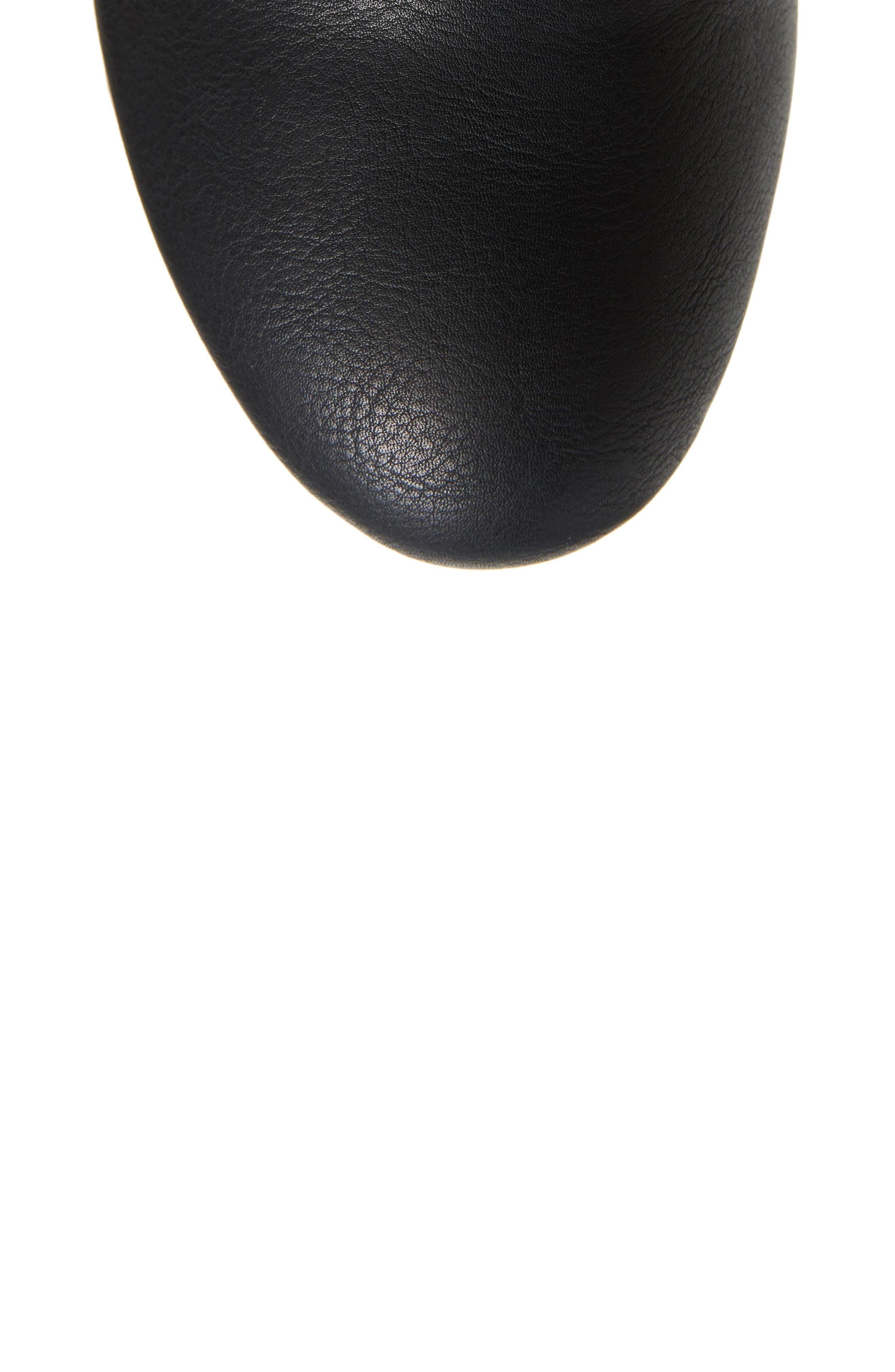 Claretta Knee High Wedge Boot,                             Alternate thumbnail 5, color,                             BLACK VEGAN LEATHER