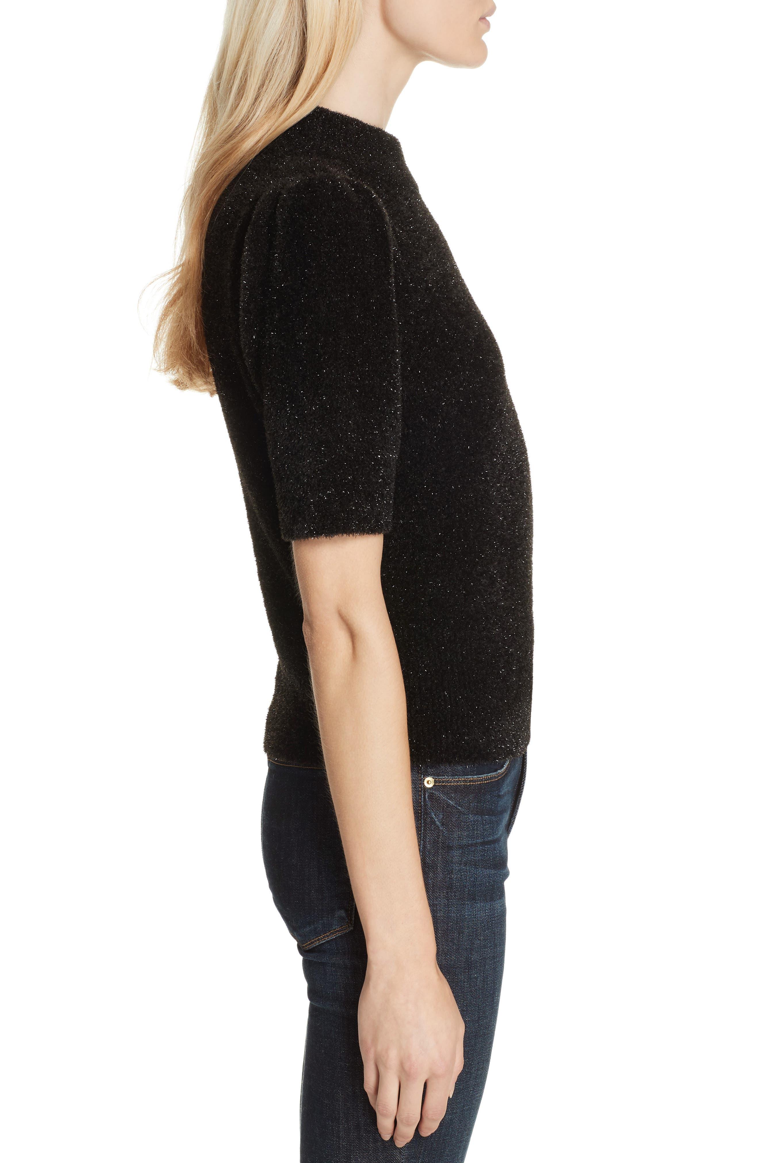 metallic fuzzy sweater,                             Alternate thumbnail 3, color,                             BLACK