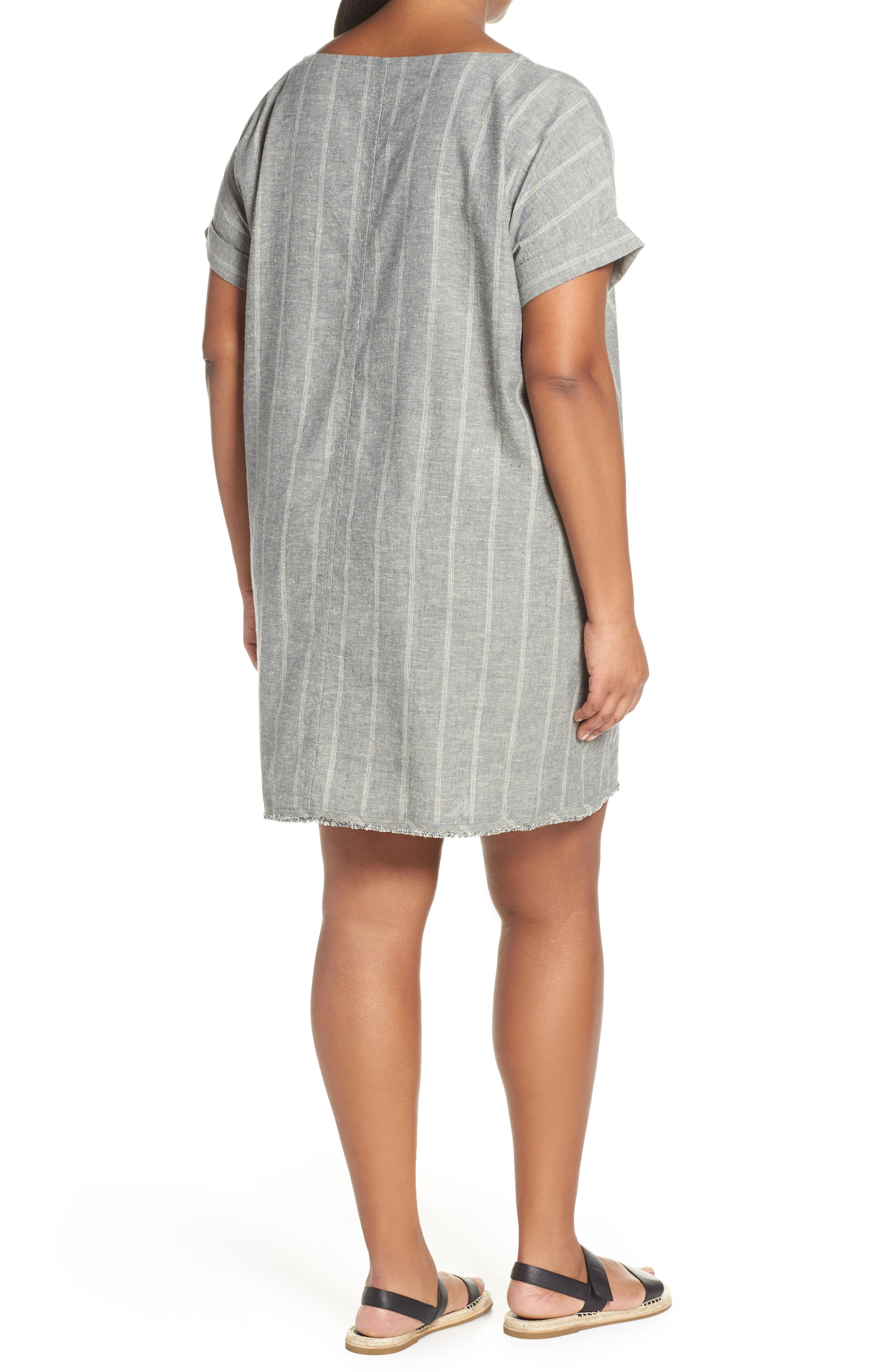 EILEEN FISHER,                             Stripe Hemp & Organic Cotton Shift Dress,                             Alternate thumbnail 2, color,                             MOON