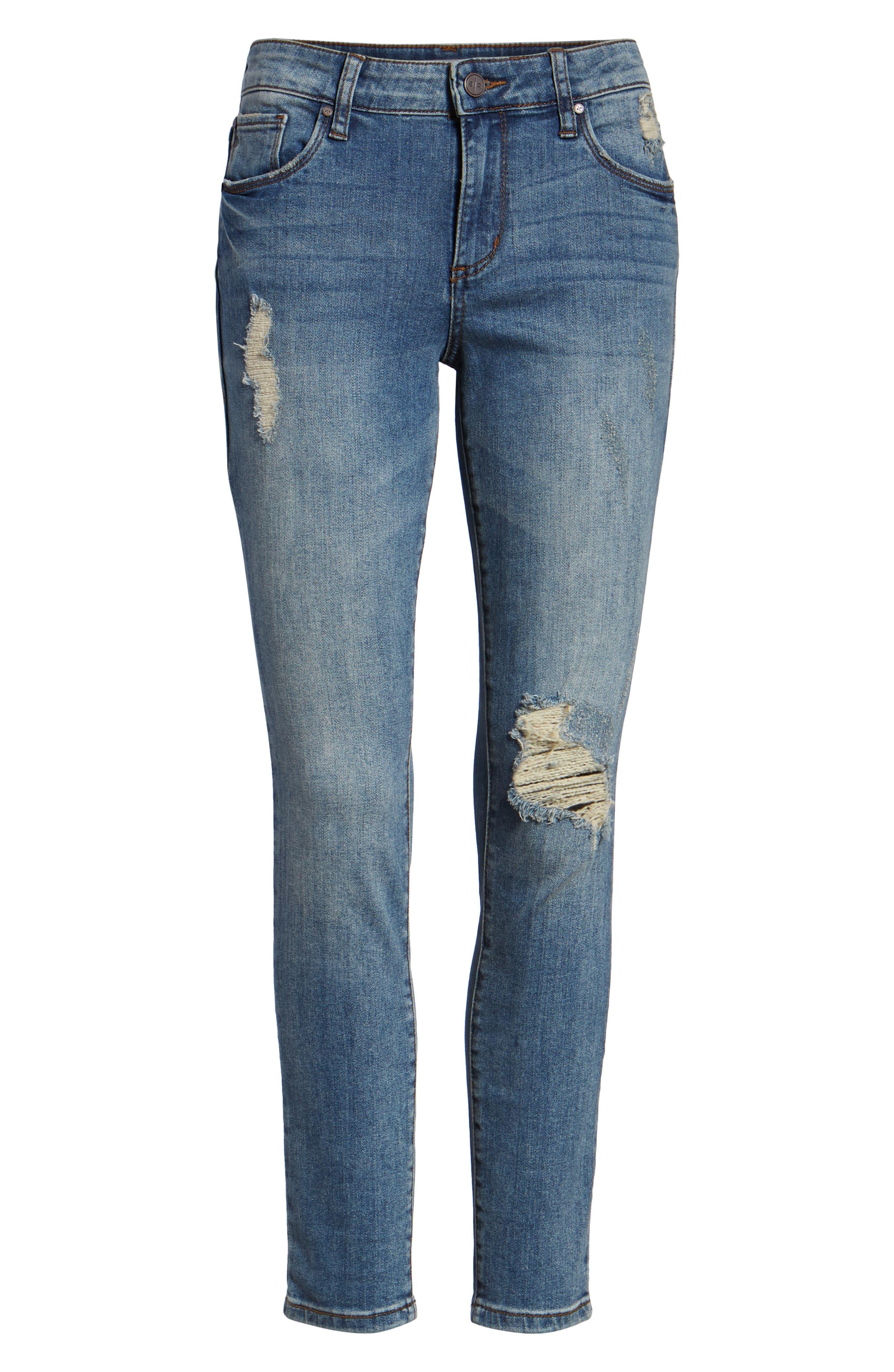 Distressed Skinny Jeans,                             Alternate thumbnail 7, color,                             LIGHT WASH