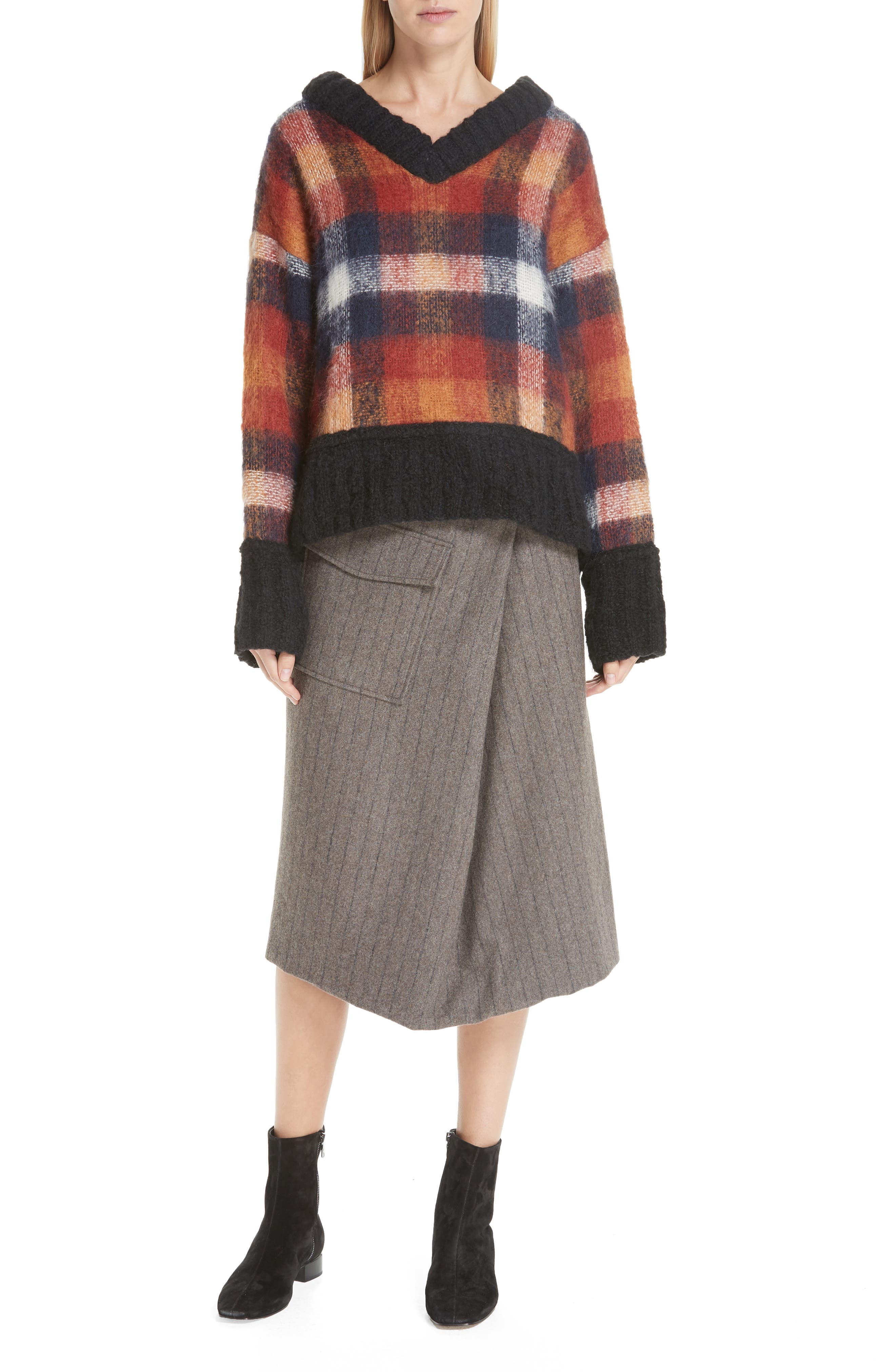 Noemie Pinstripe Wrap A-Line Skirt,                             Alternate thumbnail 7, color,                             STONE