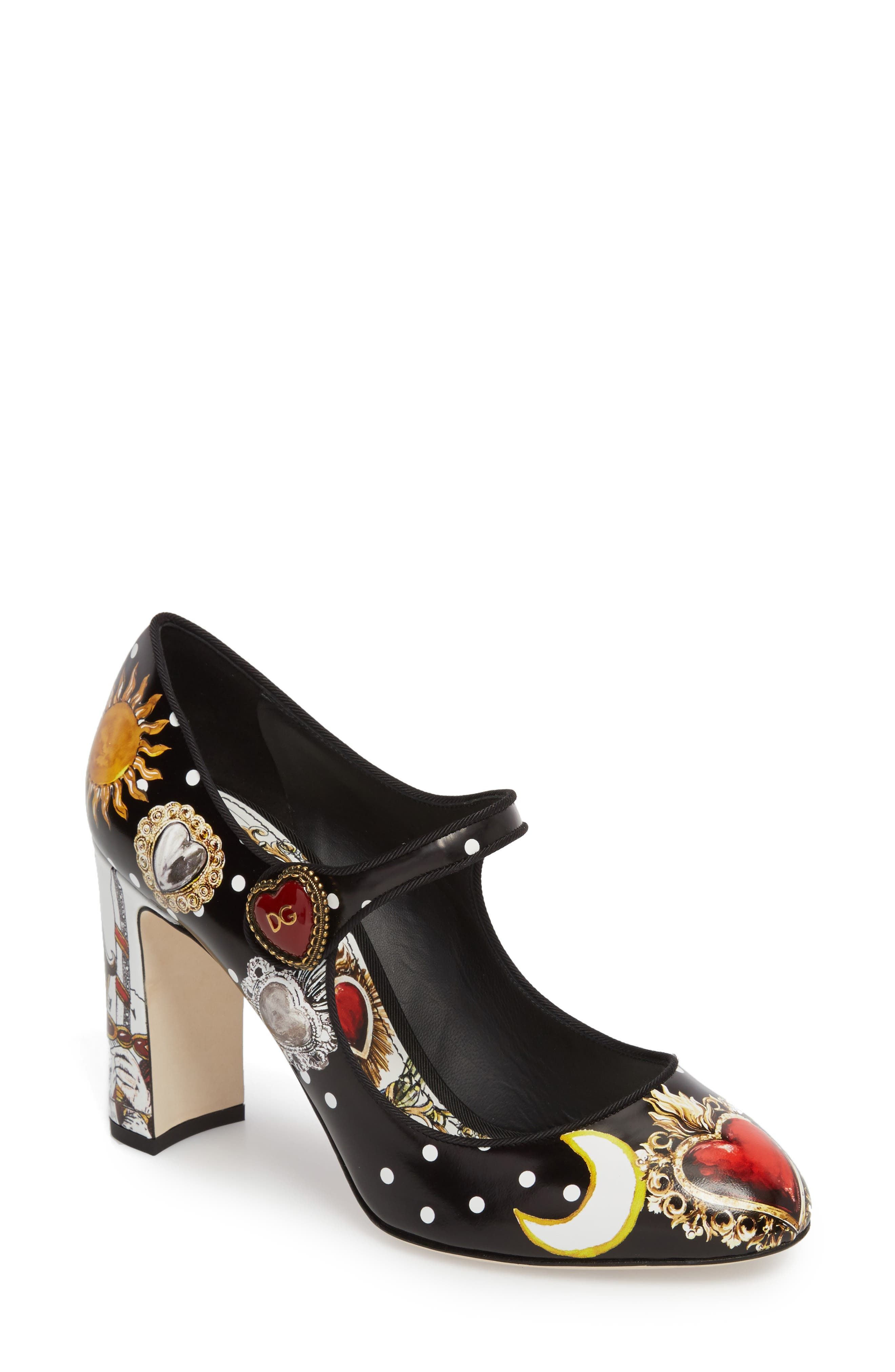 Button Card Print Mary Jane Pump,                         Main,                         color, 001