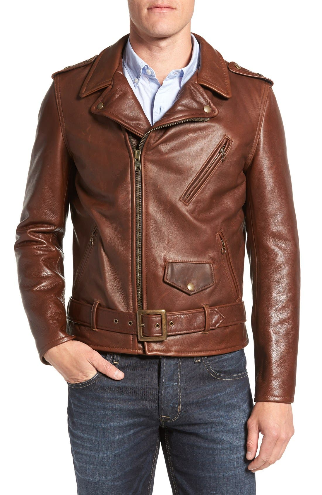 '50s Oil Tanned Cowhide Leather Moto Jacket,                         Main,                         color, BROWN