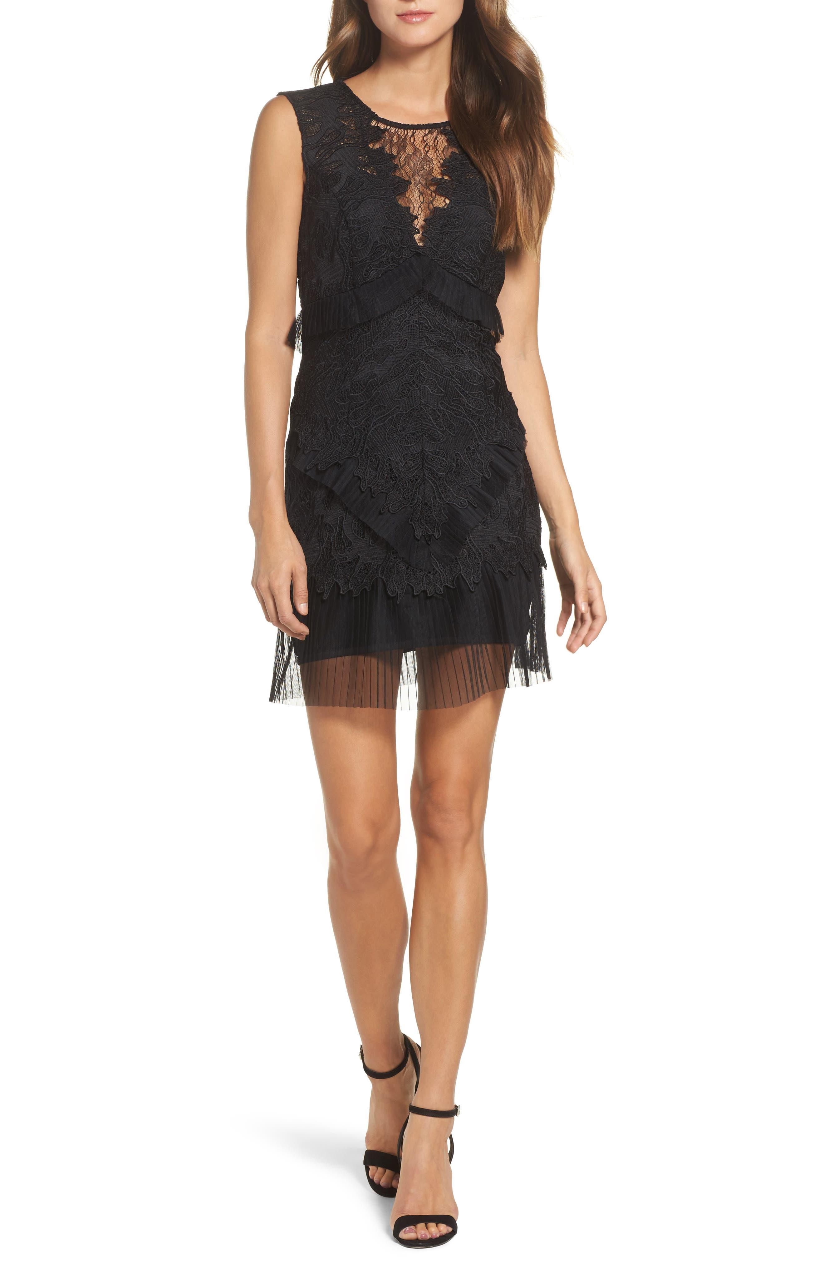Ruffle Trim Lace Sheath Dress,                         Main,                         color, 001