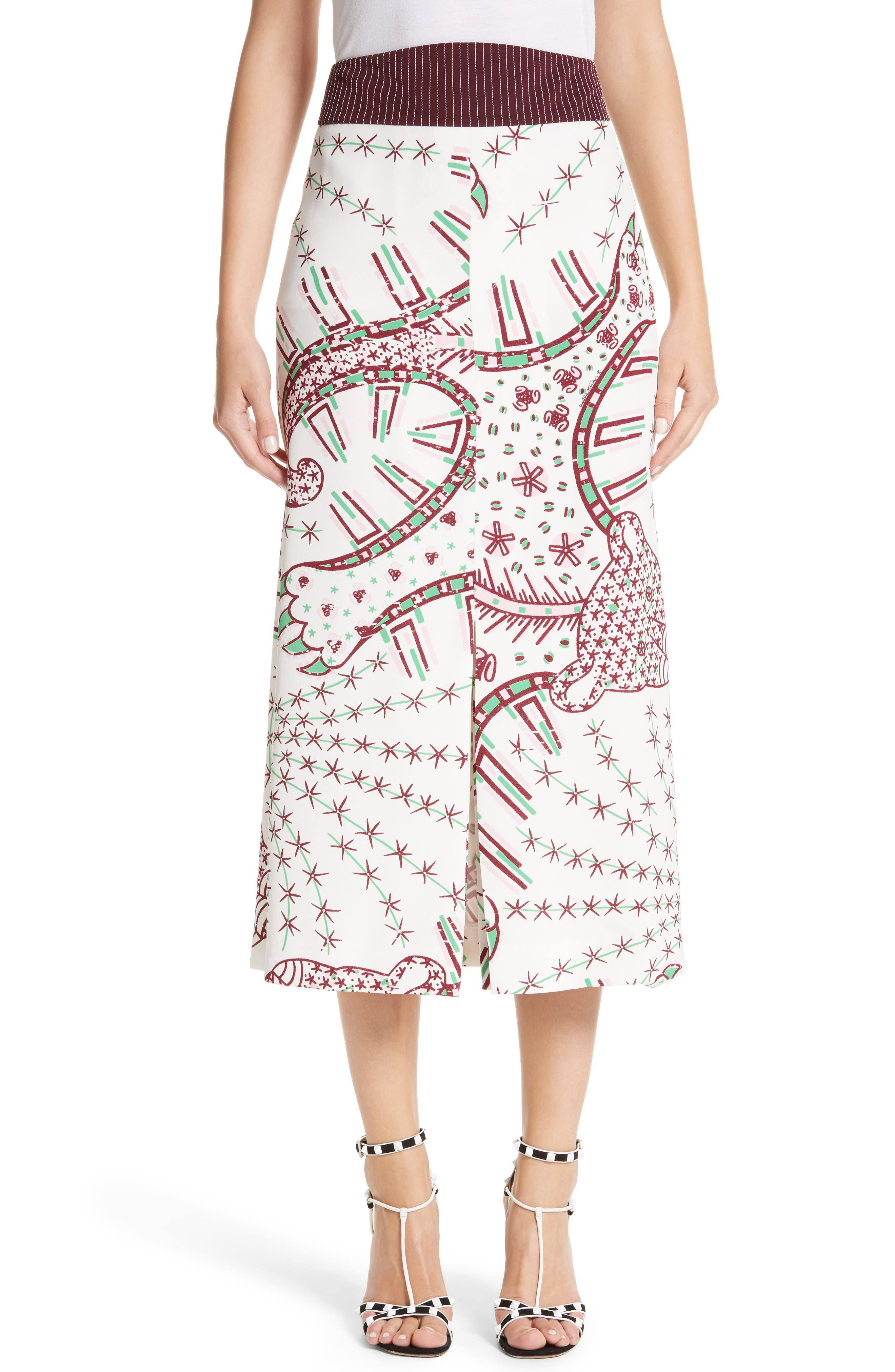 Leopard Cady Skirt,                             Main thumbnail 1, color,                             100