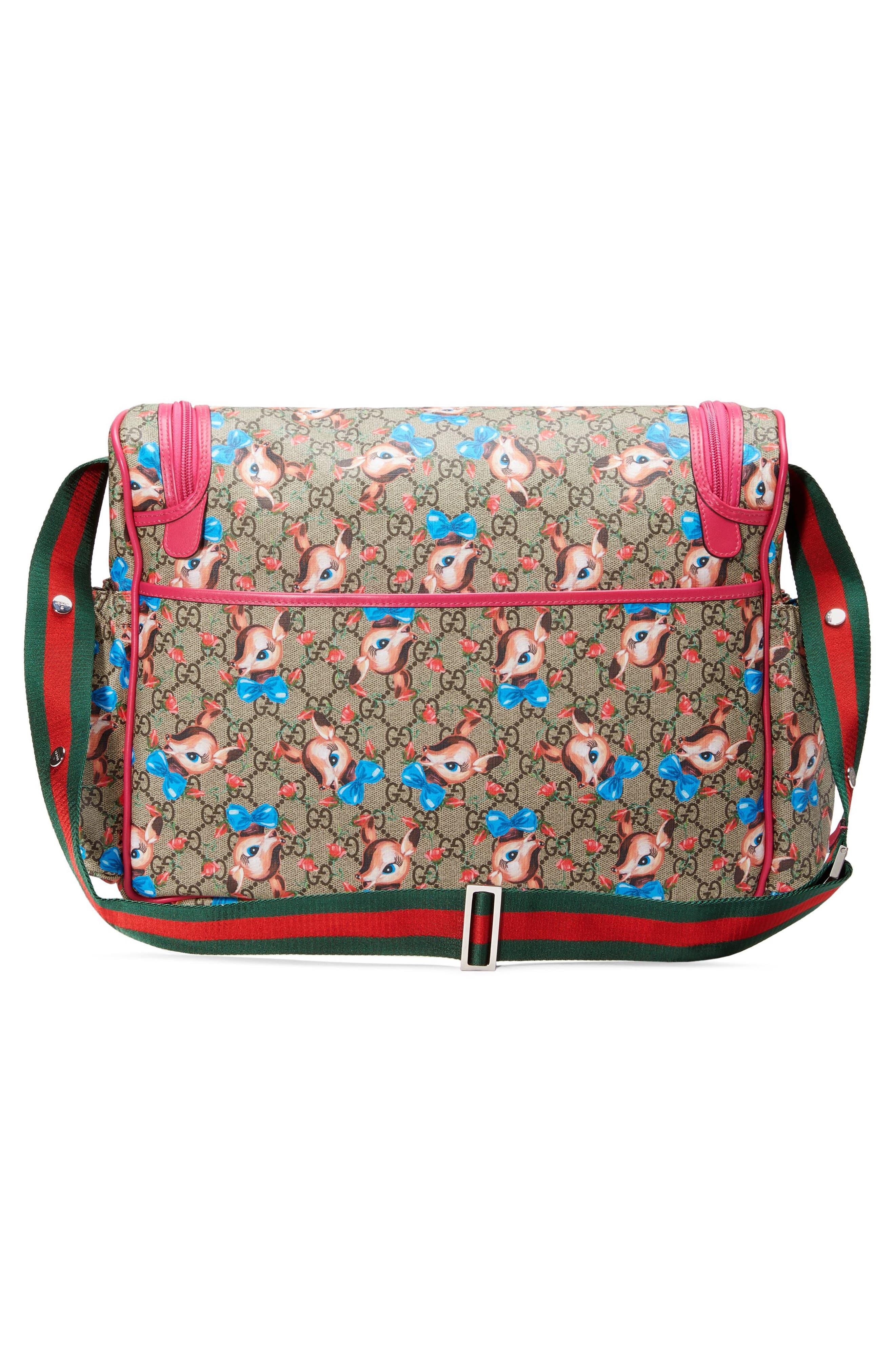 Deer & Rose Bud GG Supreme Canvas Diaper Bag,                             Alternate thumbnail 2, color,                             250