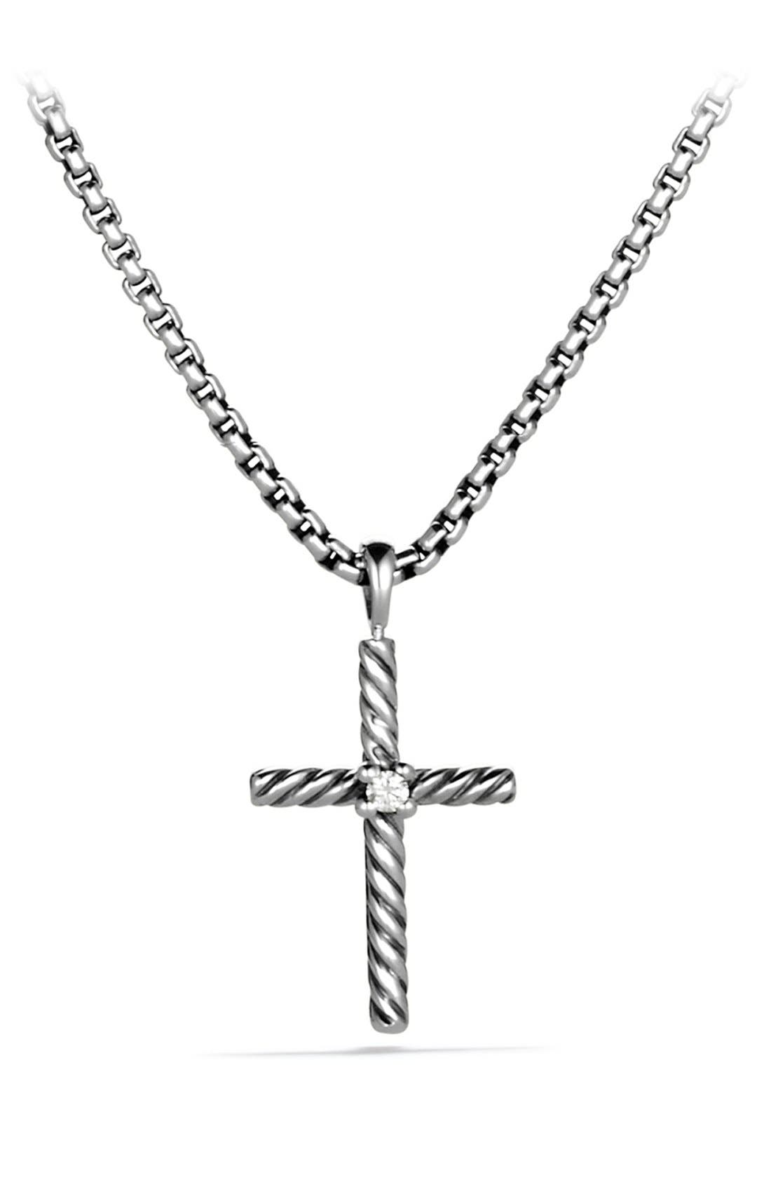'Cable Classics' Cross with Diamond on Chain,                             Main thumbnail 1, color,                             DIAMOND