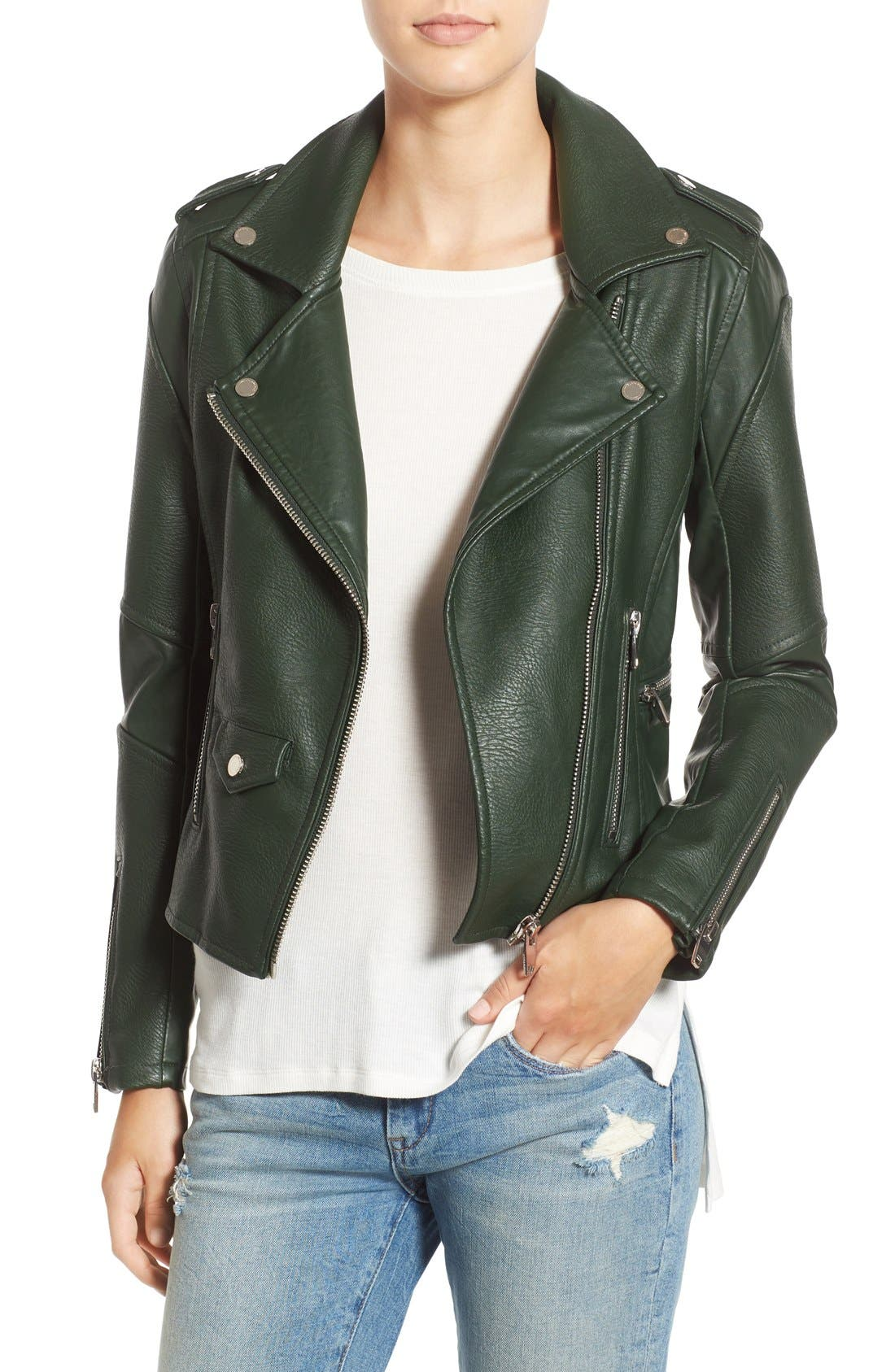 'Easy Rider' Faux Leather Moto Jacket,                             Main thumbnail 5, color,