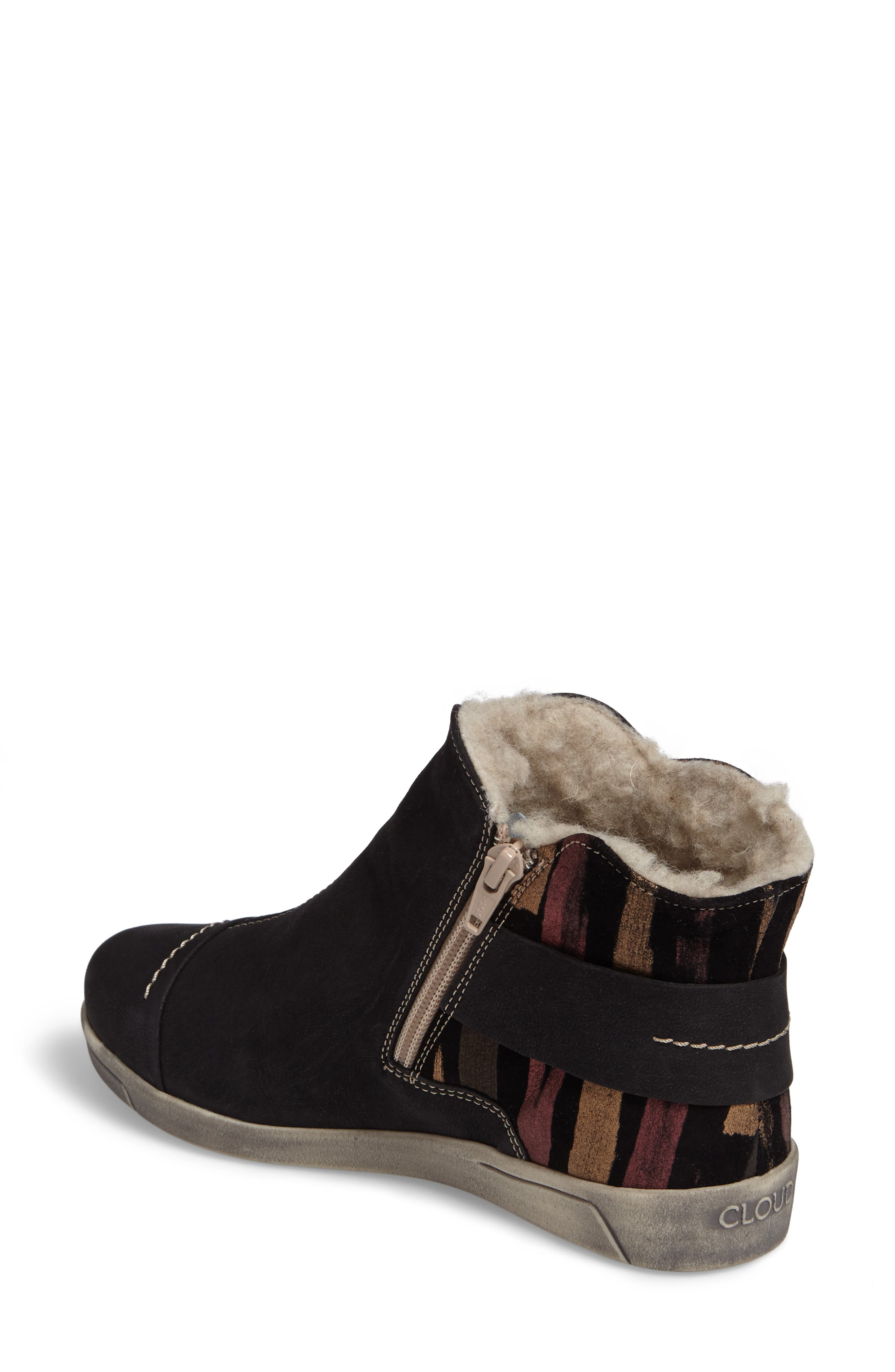 Aline Fantasy Wool Liked Boot,                             Alternate thumbnail 2, color,                             BLACK LEATHER