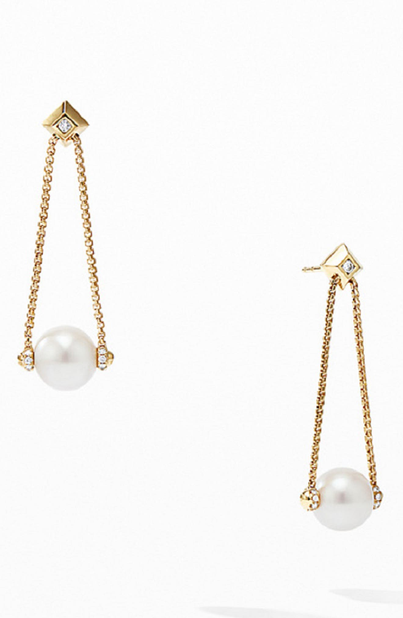 Solari Pearl Drop Earrings with Diamonds in 18K Yellow Gold,                         Main,                         color, PEARL