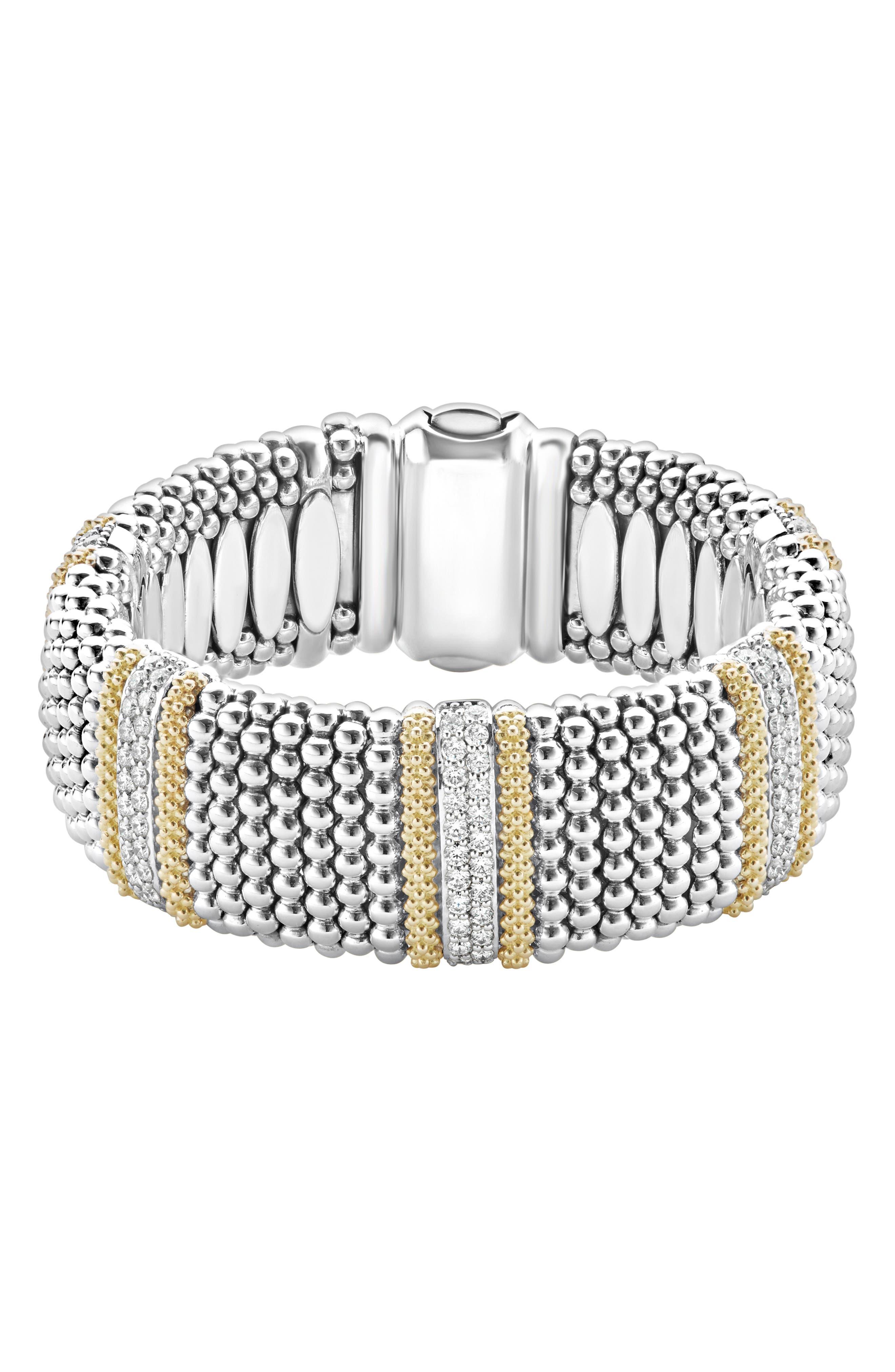 Diamond Lux Caviar 23Mm 5-Station Bracelet in Silver/ Diamond