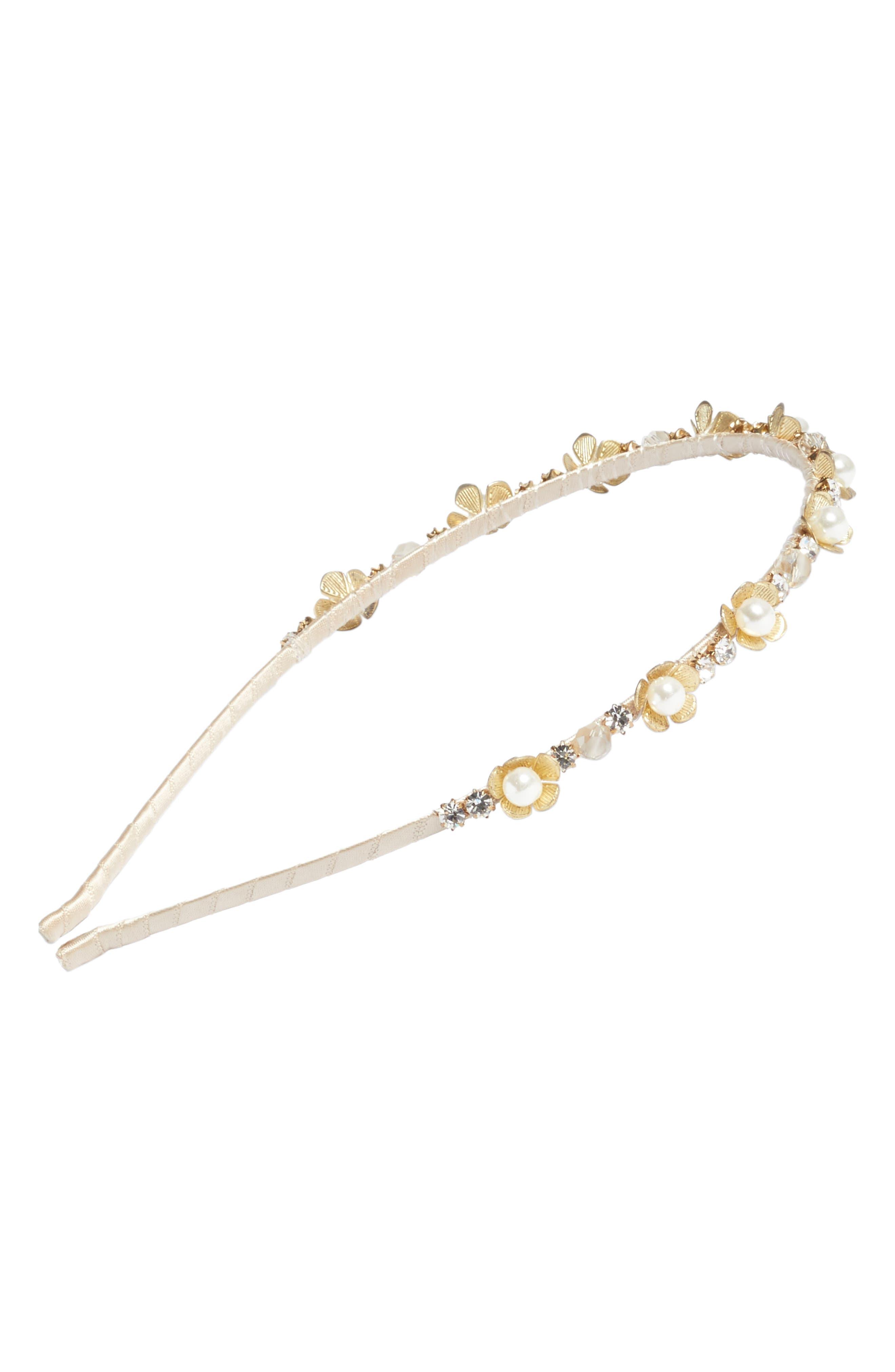 Rhinestone & Imitation Pearl Flower Headband,                         Main,                         color,