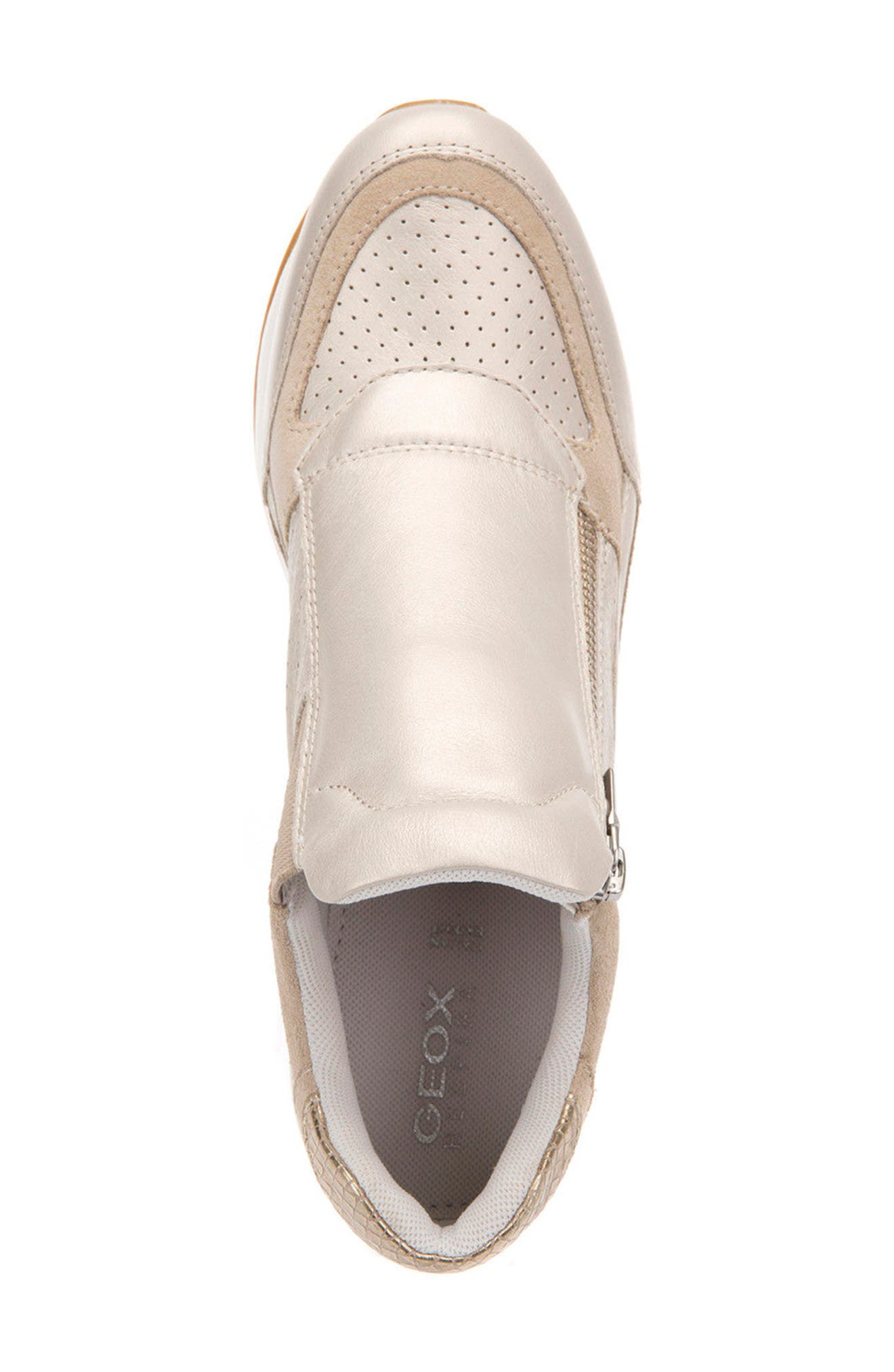 Nydame Wedge Sneaker,                             Alternate thumbnail 5, color,                             PLATINUM LEATHER