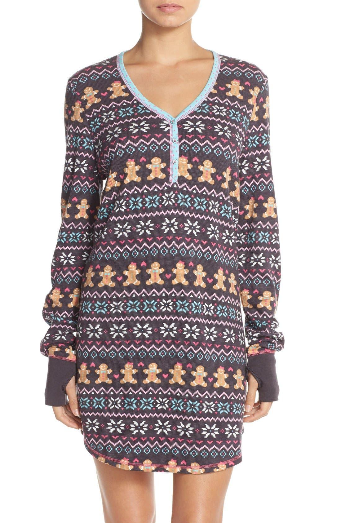 Thermal Knit Sleep Shirt, Main, color, 011