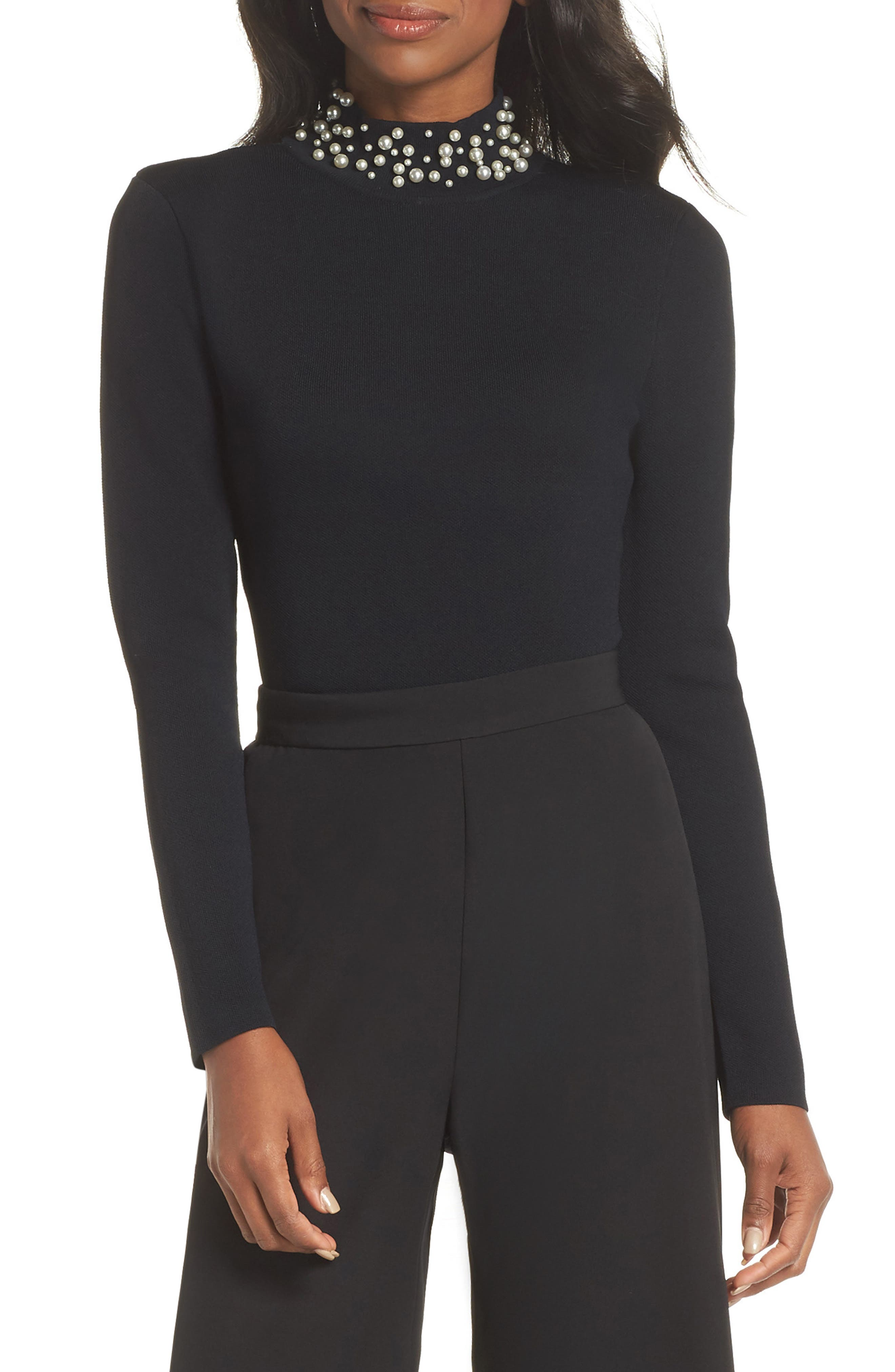 1950s Rockabilly & Pin Up Tops, Blouses, Shirts Womens Eliza J Faux Pearl Embellished Mock Neck Sweater $76.80 AT vintagedancer.com