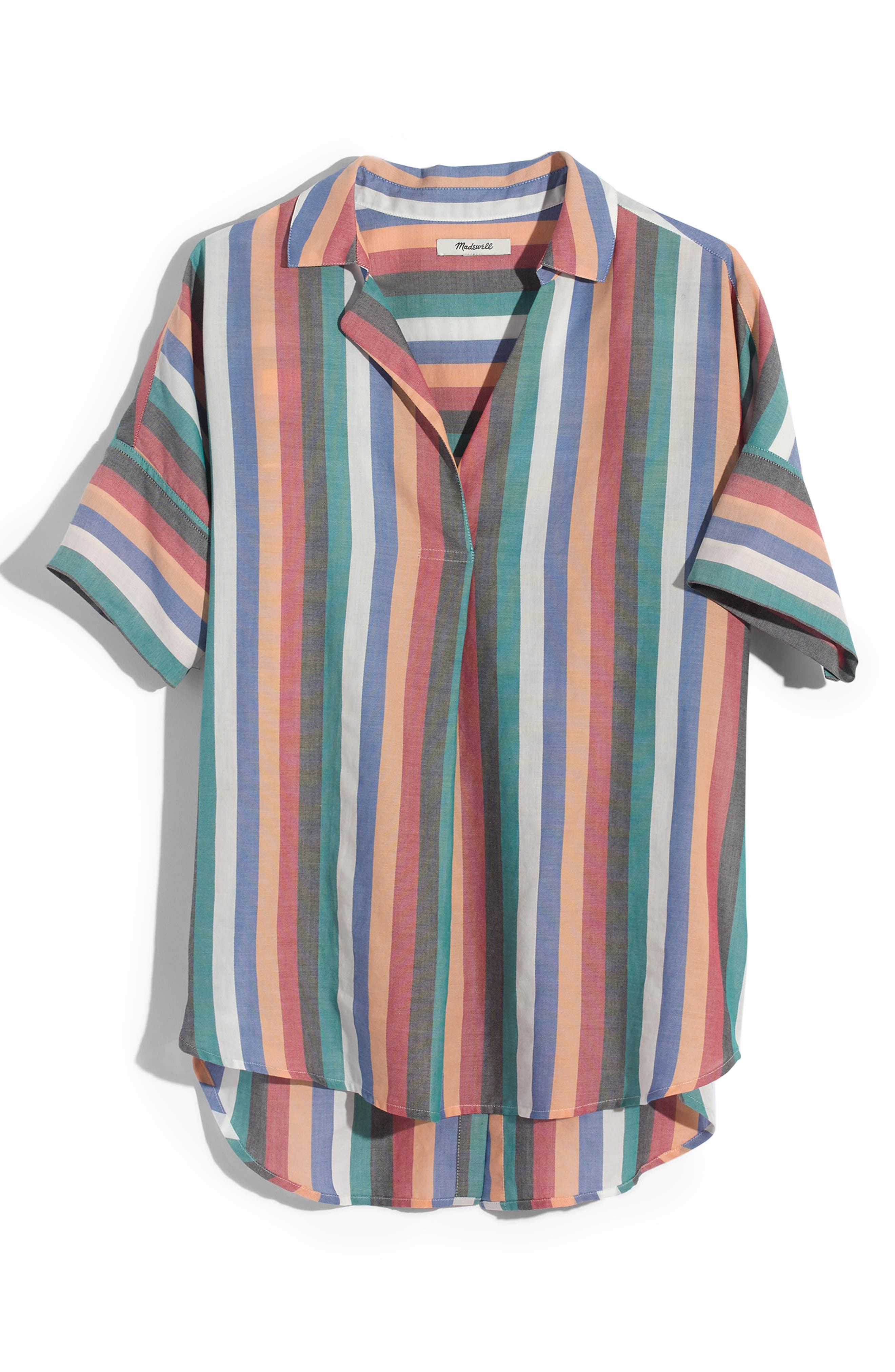 Courier Button Back Shirt,                             Alternate thumbnail 4, color,                             MULTI STRIPE