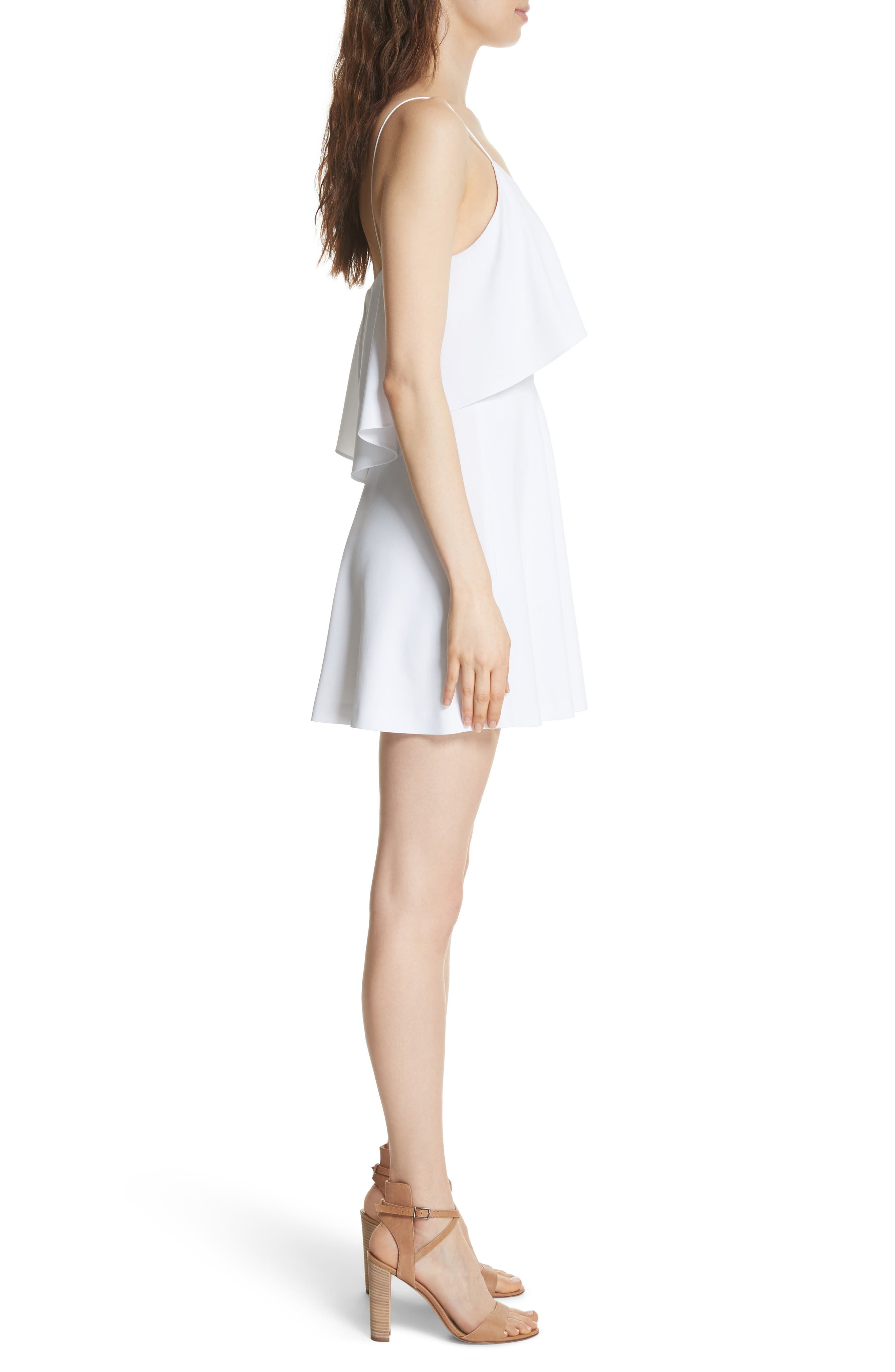 Kipp Layered Ruffle Short Dress,                             Alternate thumbnail 3, color,                             100
