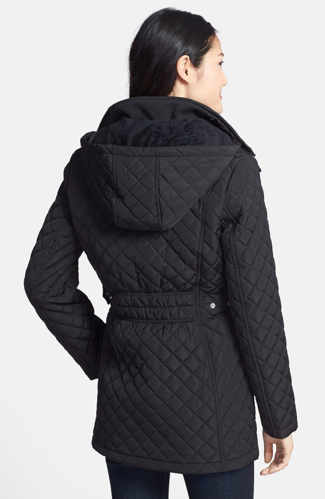 Hooded Quilted Jacket,                             Alternate thumbnail 8, color,                             001