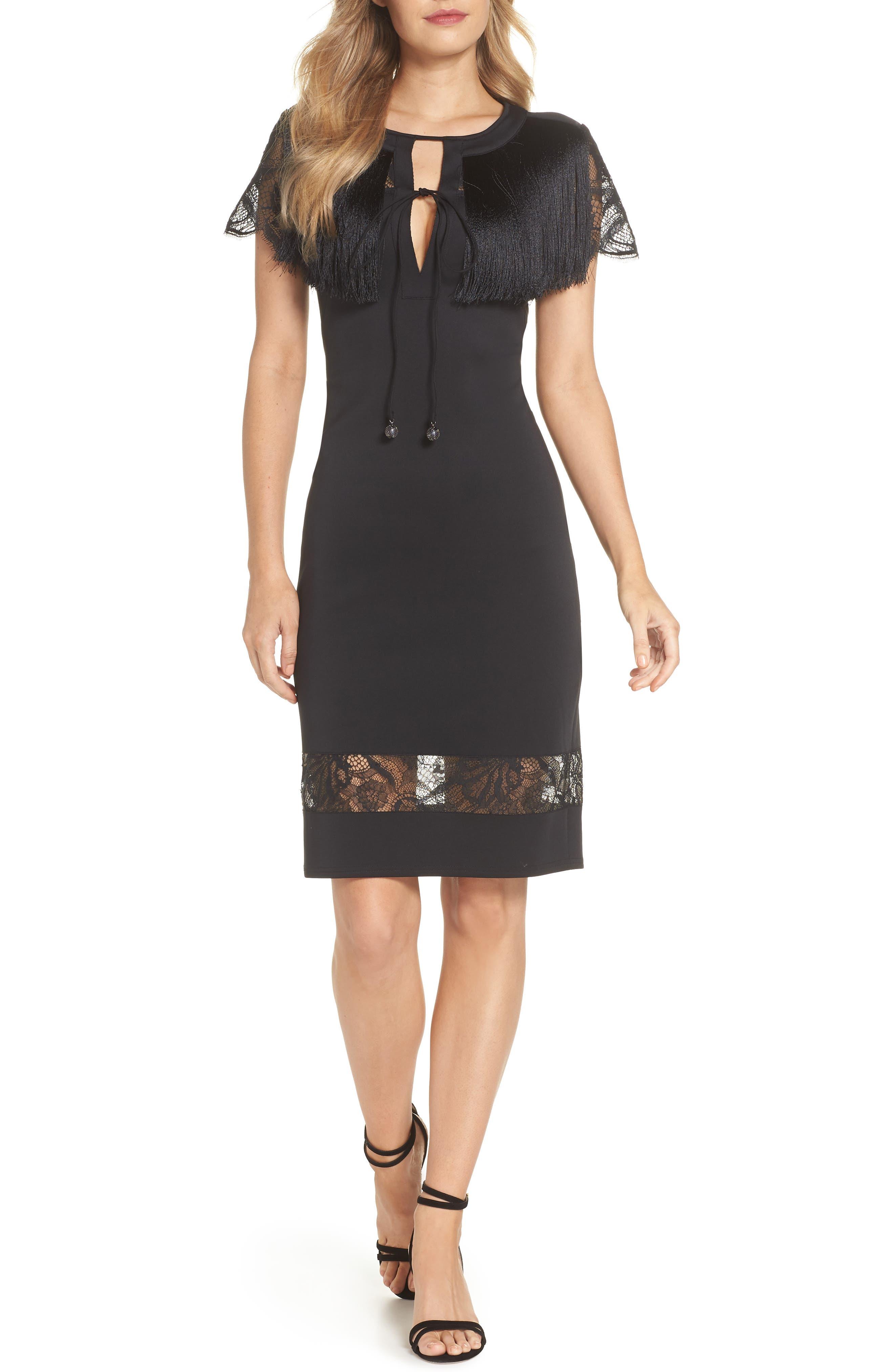 Tadashi Shoji Lace & Fringe Cocktail Dress, Black