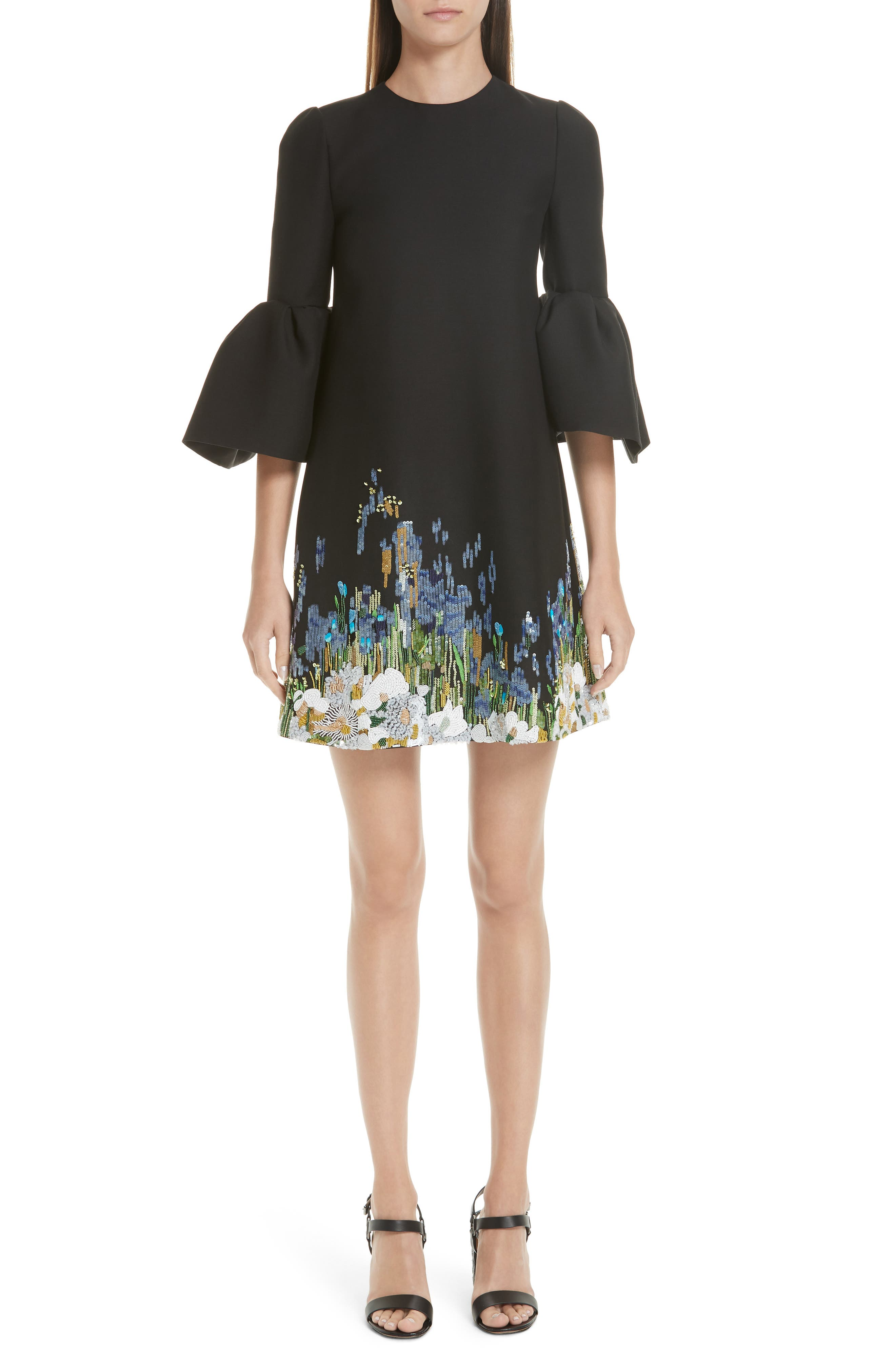Ruffle Sleeve Floral Embroidered Dress,                             Main thumbnail 1, color,                             BLACK MULTI