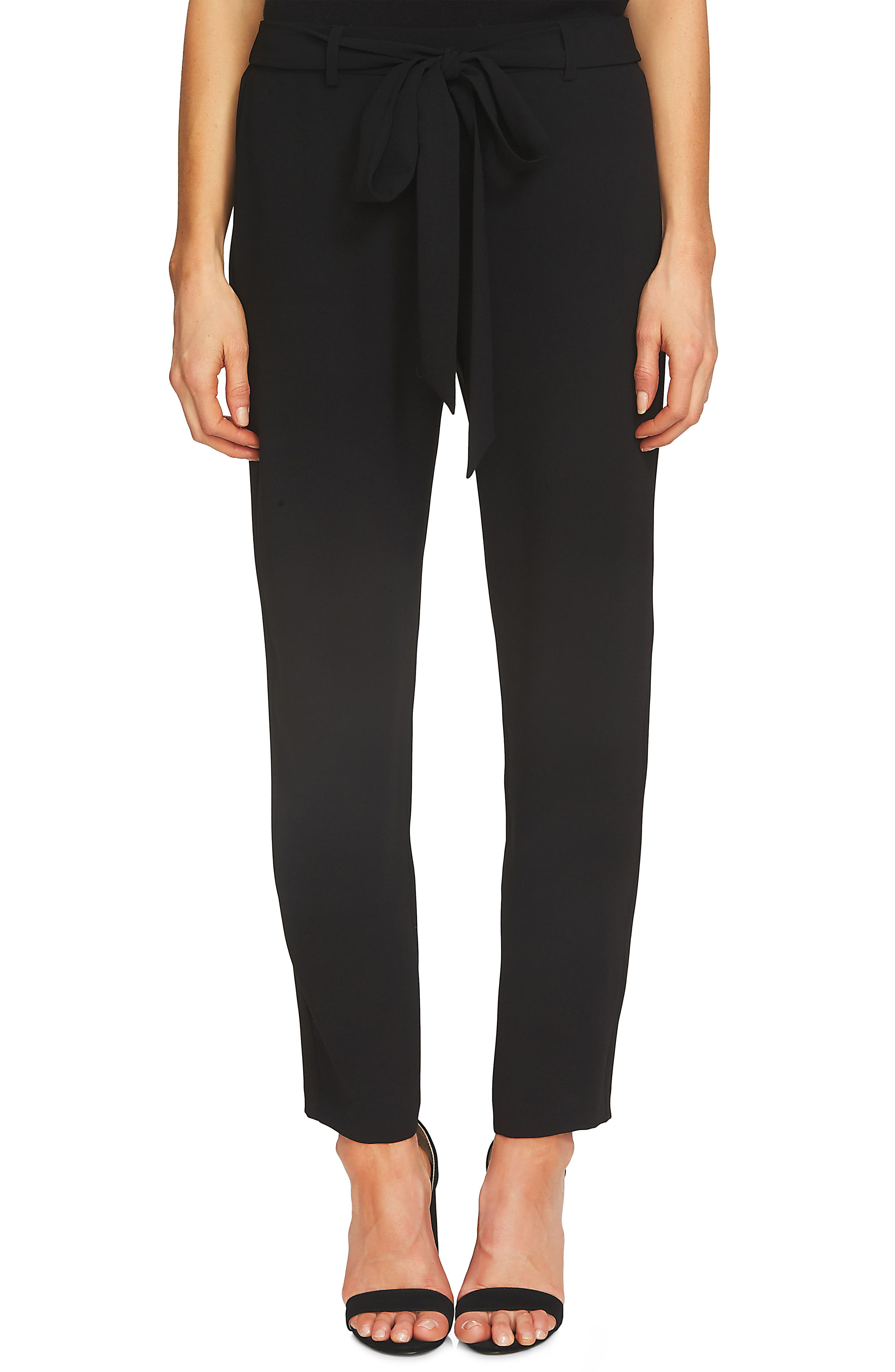 Tie Front Crepe Ankle Pants,                         Main,                         color, RICH BLACK
