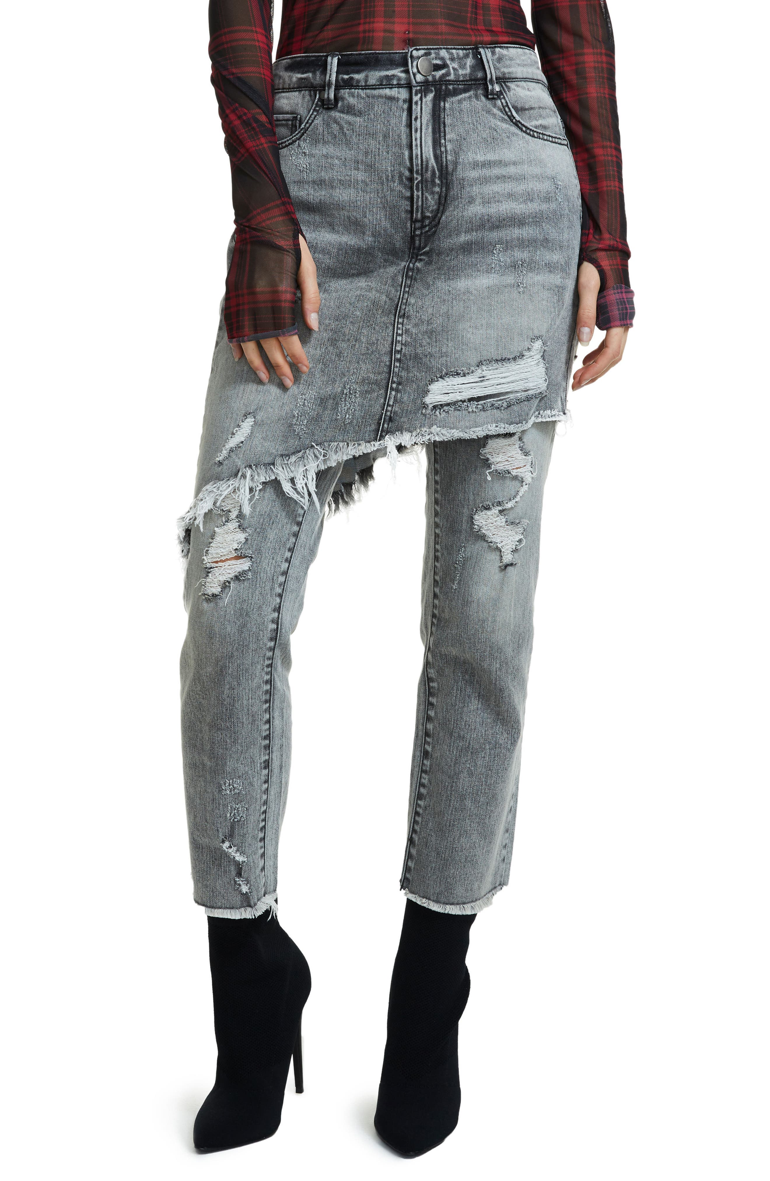 Maxon Ripped Skirted Crop Jeans,                             Alternate thumbnail 6, color,                             001