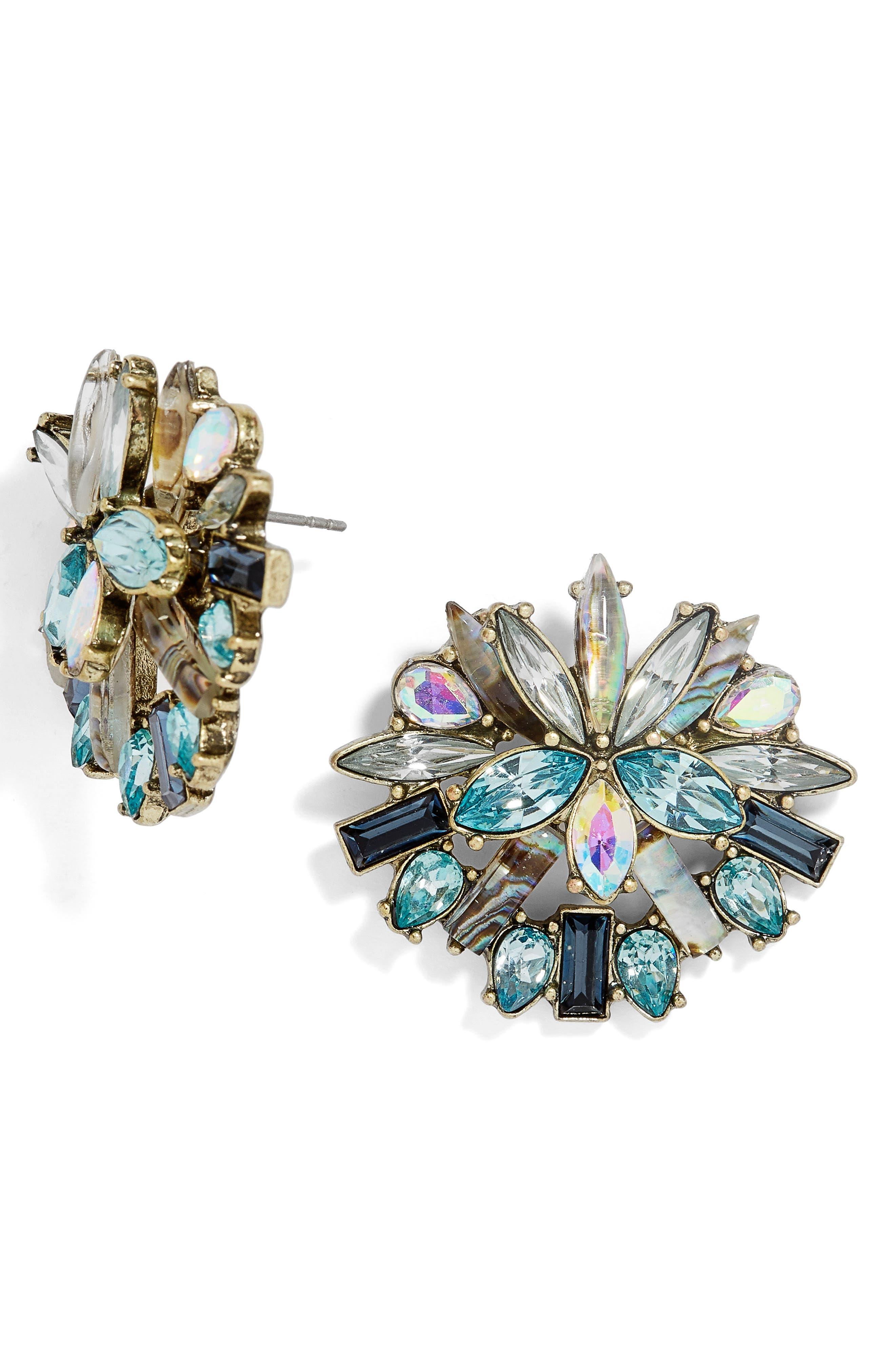 Zaffre Crystal Cluster Stud Earrings,                         Main,                         color, 400