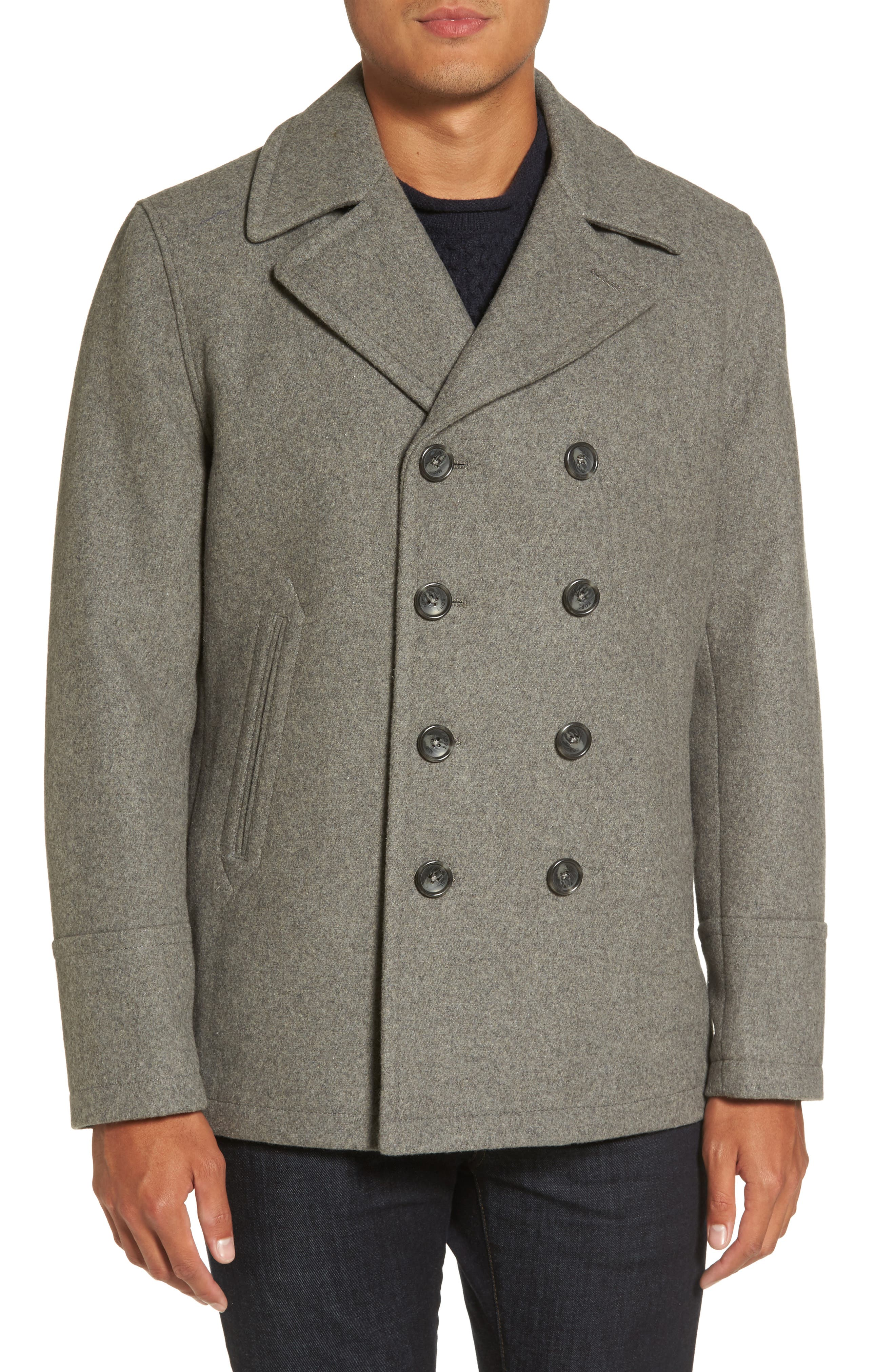 Peacoat with Faux Shearling Collar,                             Alternate thumbnail 4, color,                             038