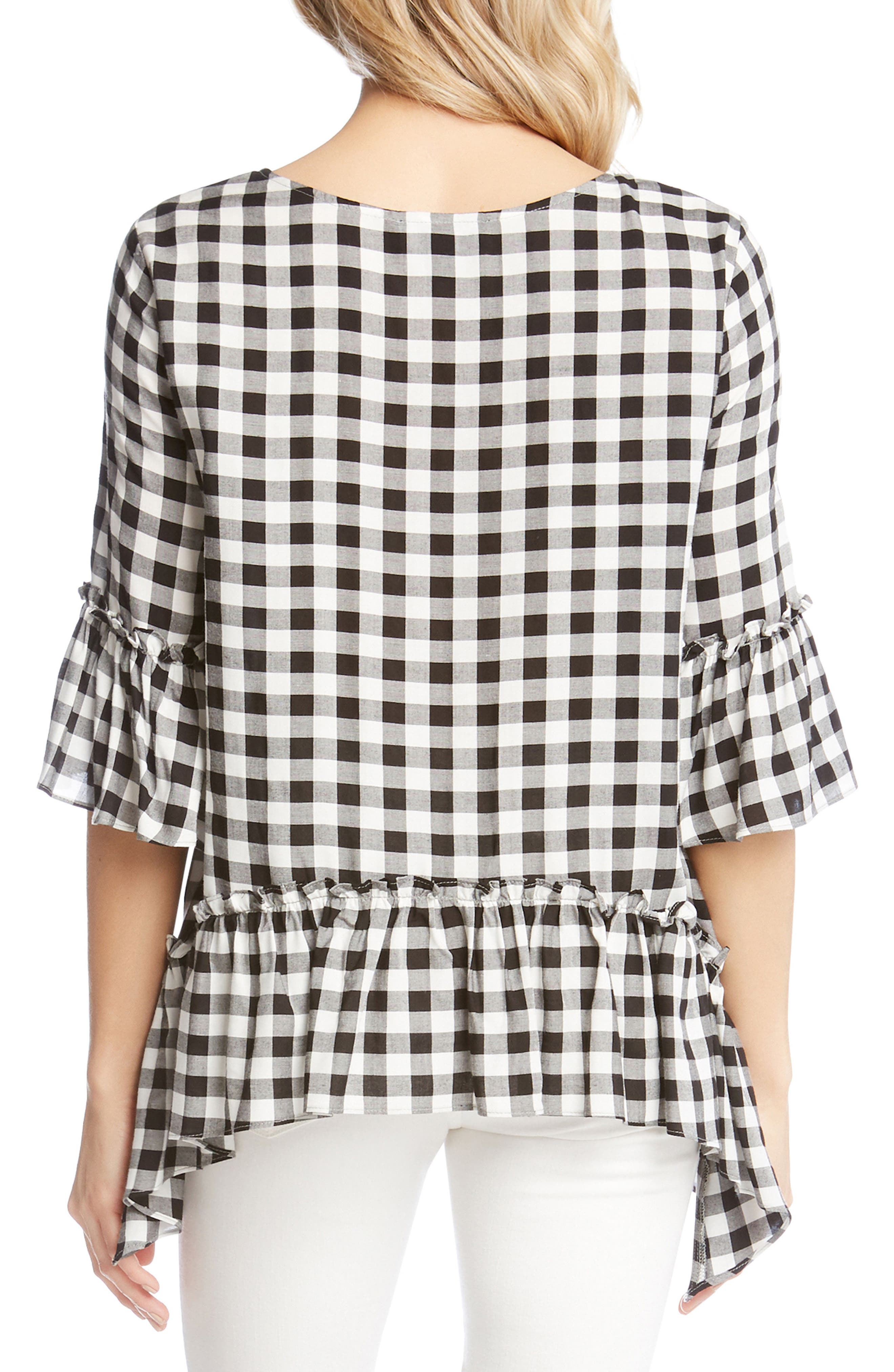 Gingham Check Ruffle Hem Top,                             Alternate thumbnail 2, color,                             010