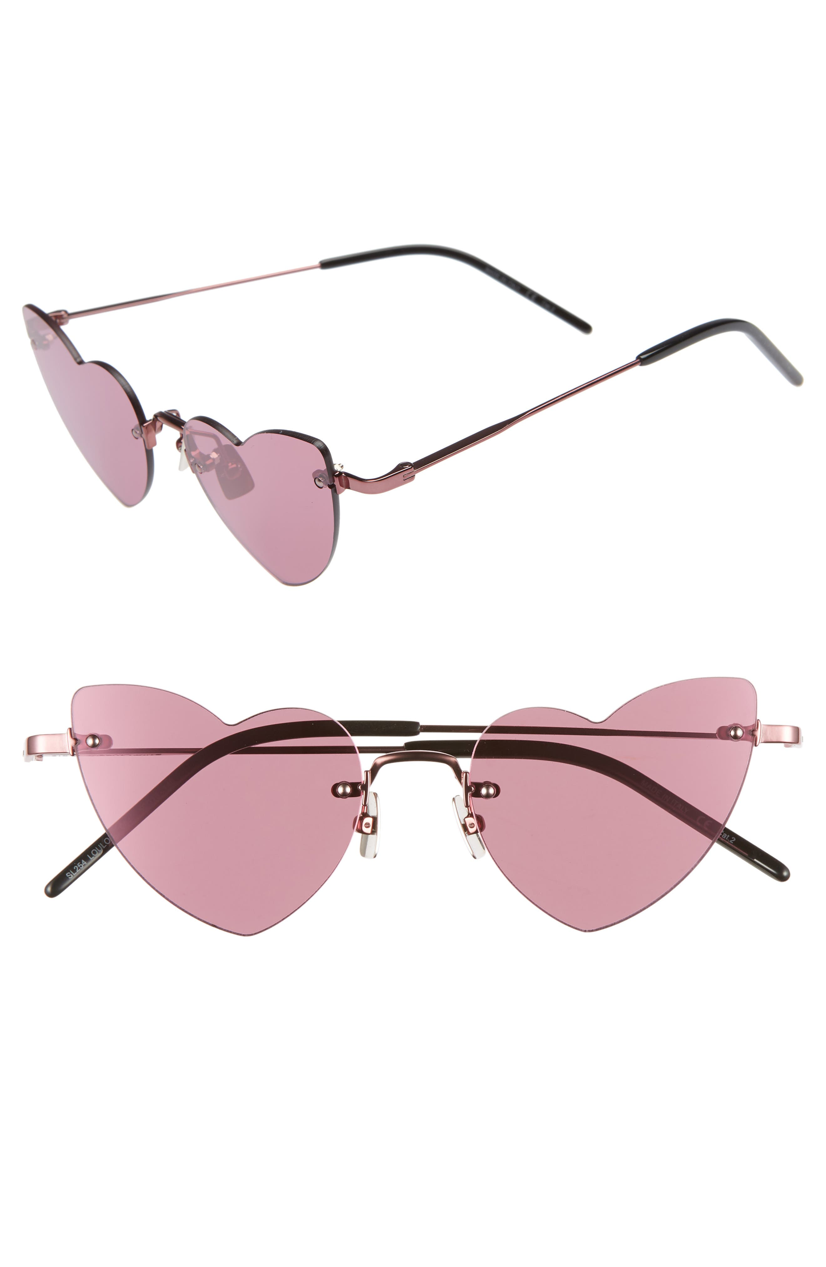 Saint Laurent 50Mm Rimless Heart Shaped Sunglasses - Pink/ Pink Flash