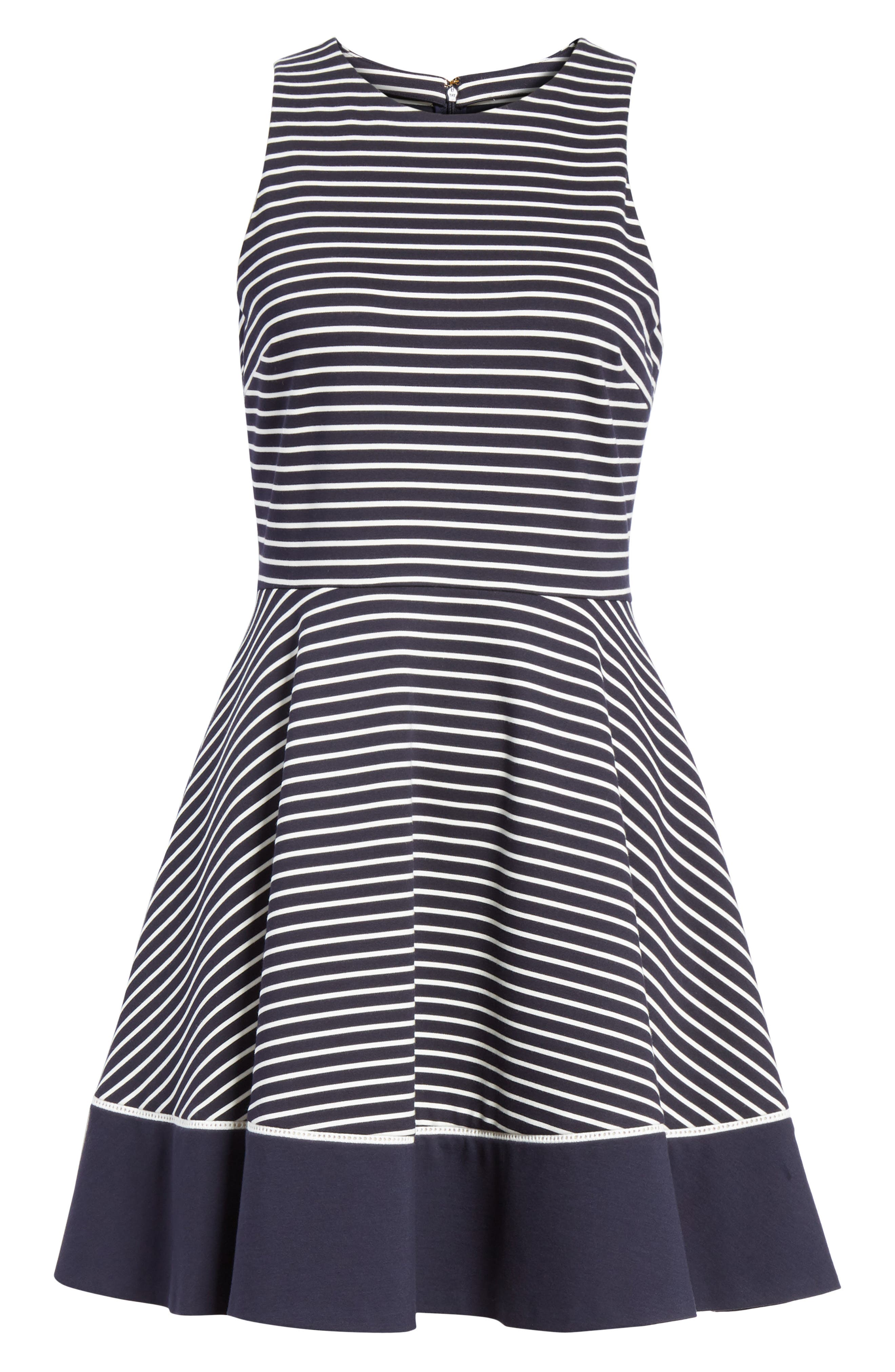 stripe ponte fit & flare dress,                             Alternate thumbnail 6, color,