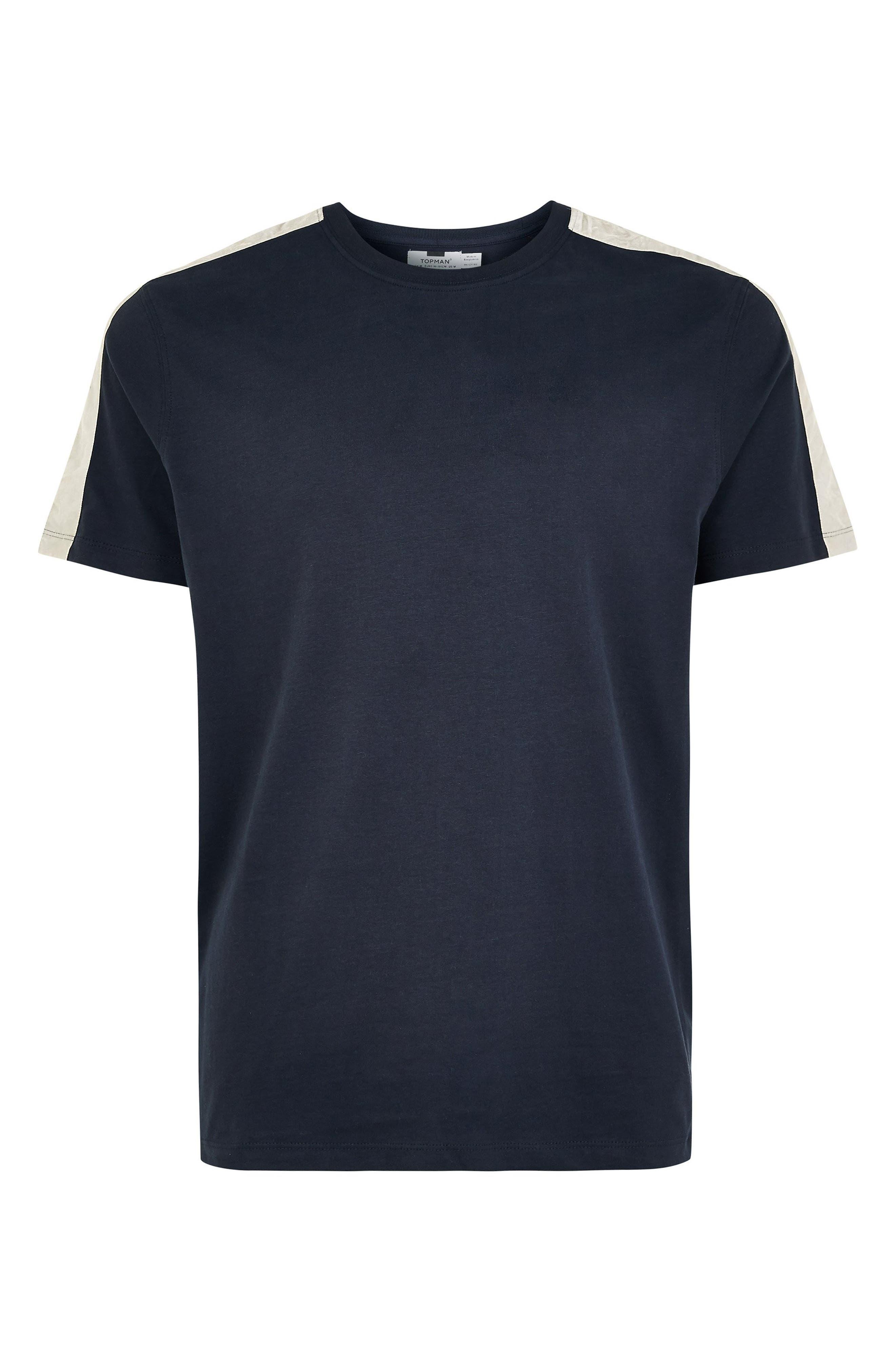 Velour Taped T-Shirt,                             Alternate thumbnail 4, color,                             NAVY BLUE