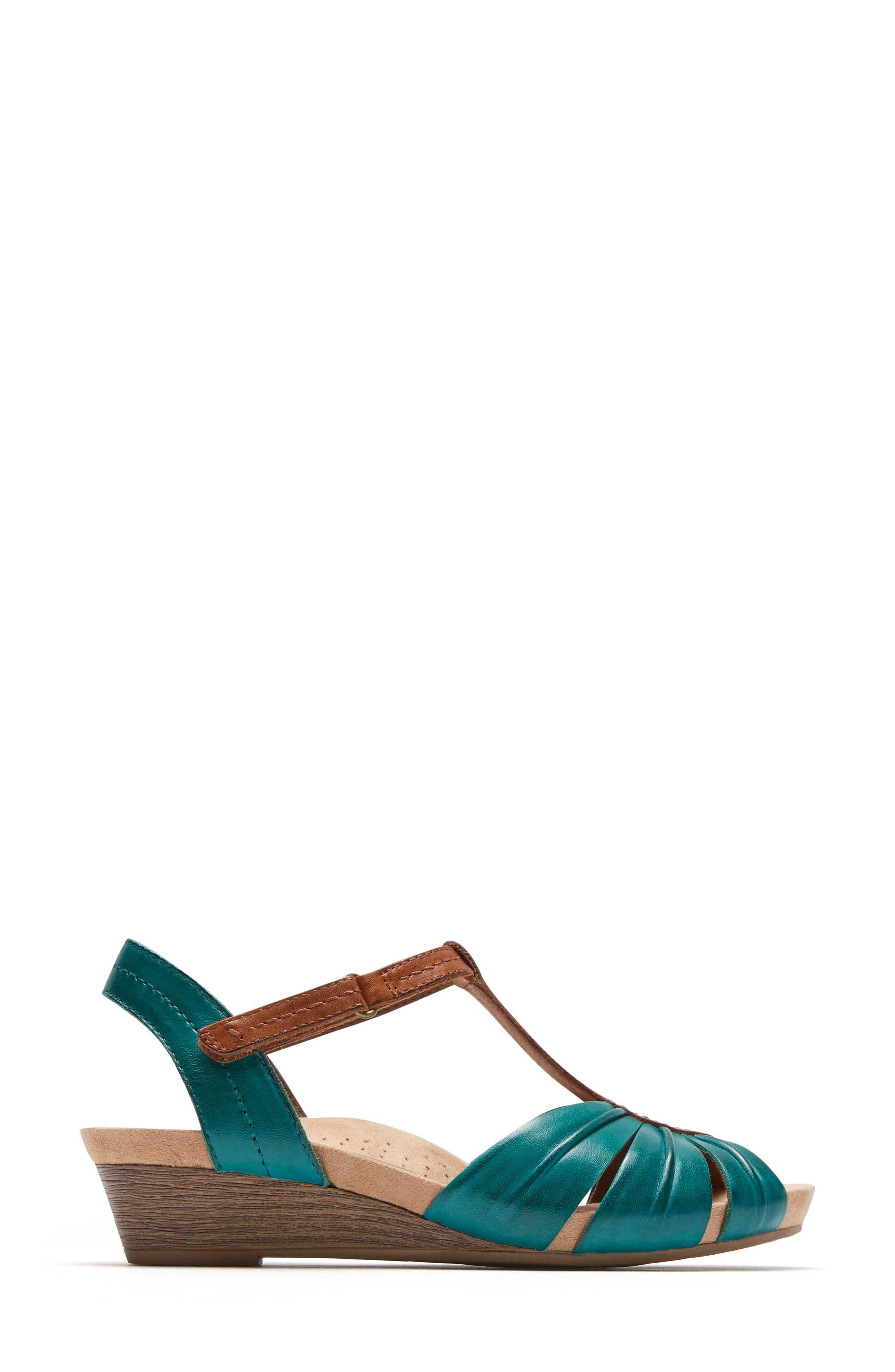 Hollywood Pleat Wedge Sandal,                             Alternate thumbnail 3, color,                             LAGOON LEATHER