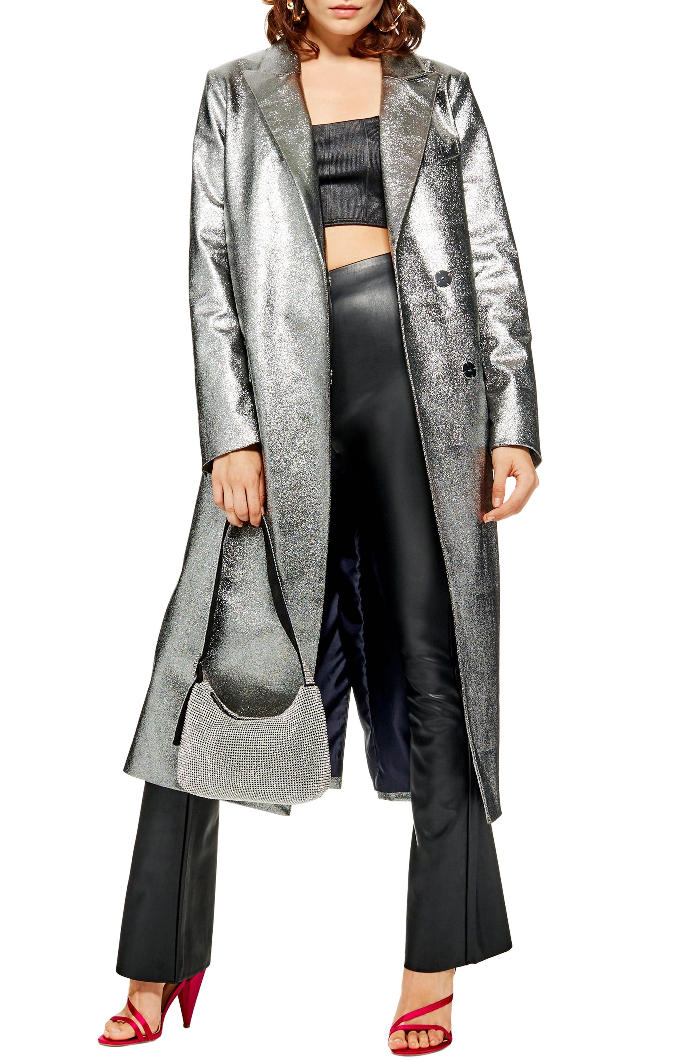 TOPSHOP Twinkle Textured Coat, Main, color, SILVER