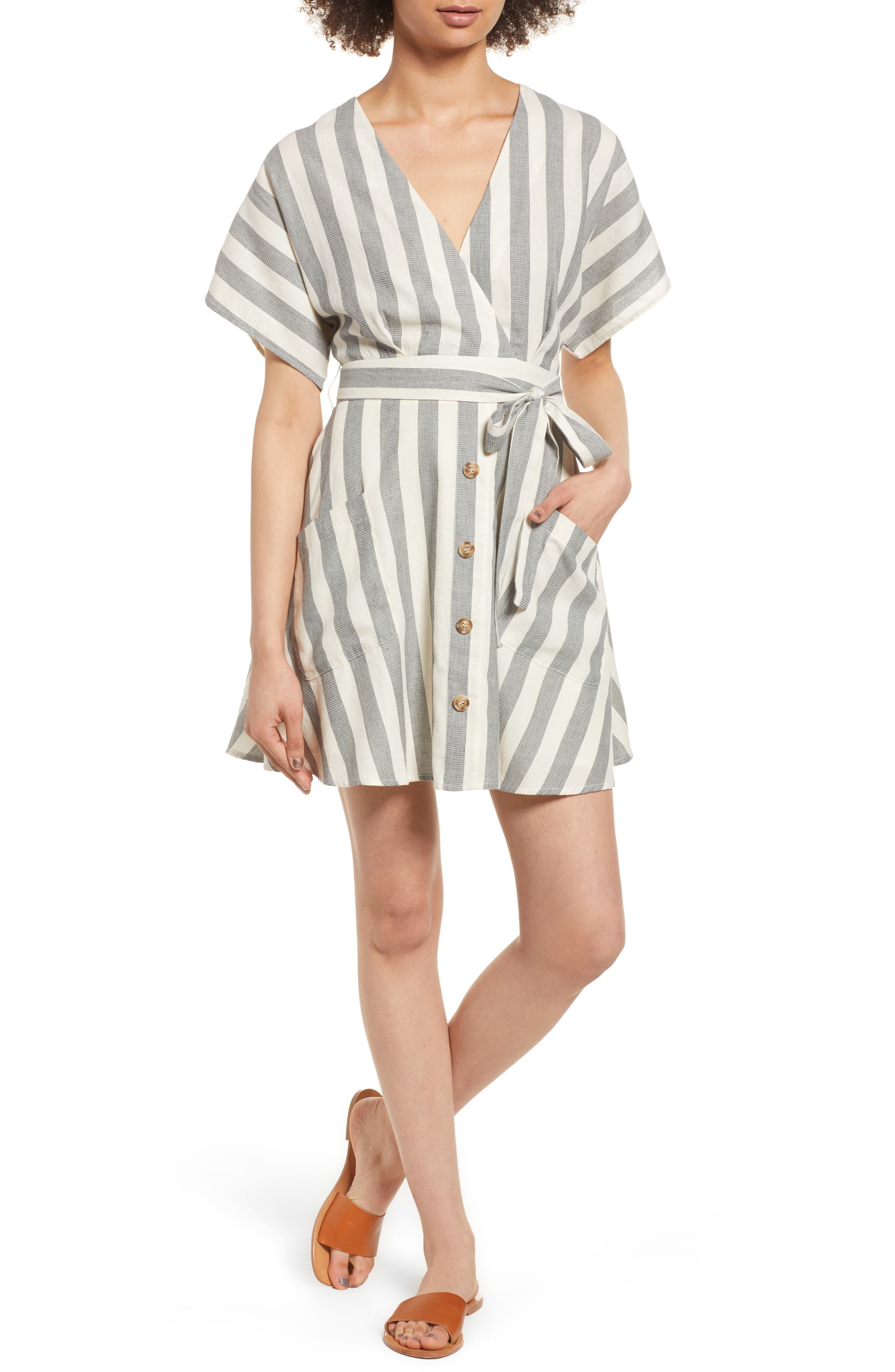 Stripe Cotton Wrap Dress,                             Main thumbnail 1, color,                             004
