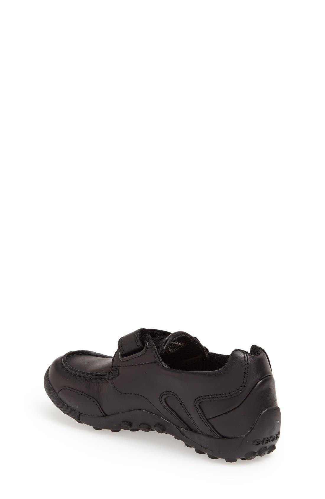 'Snake Moc 2' Leather Loafer,                             Alternate thumbnail 3, color,                             BLACK