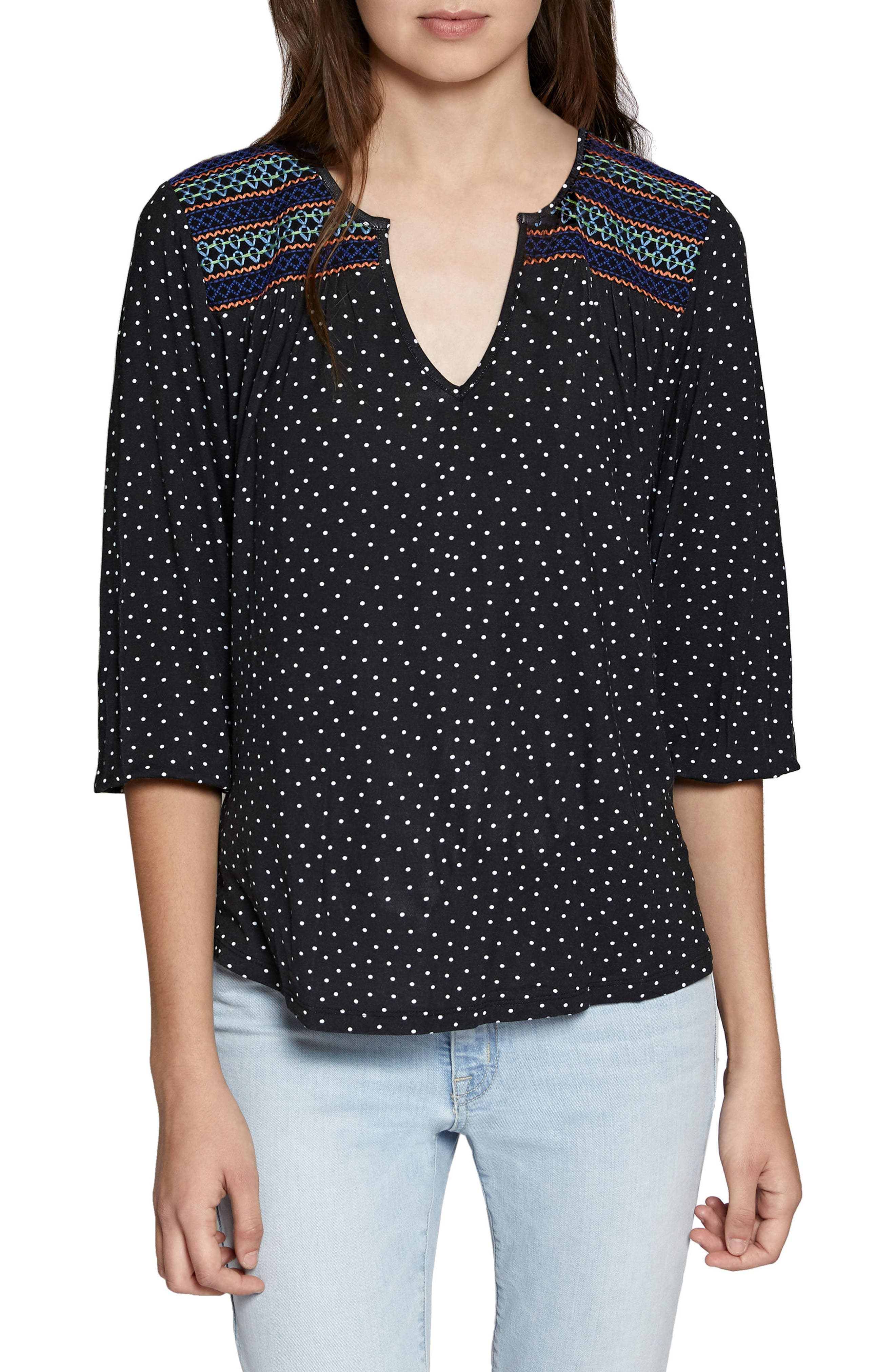 Anabelle Polka Dot Top,                         Main,                         color, 001