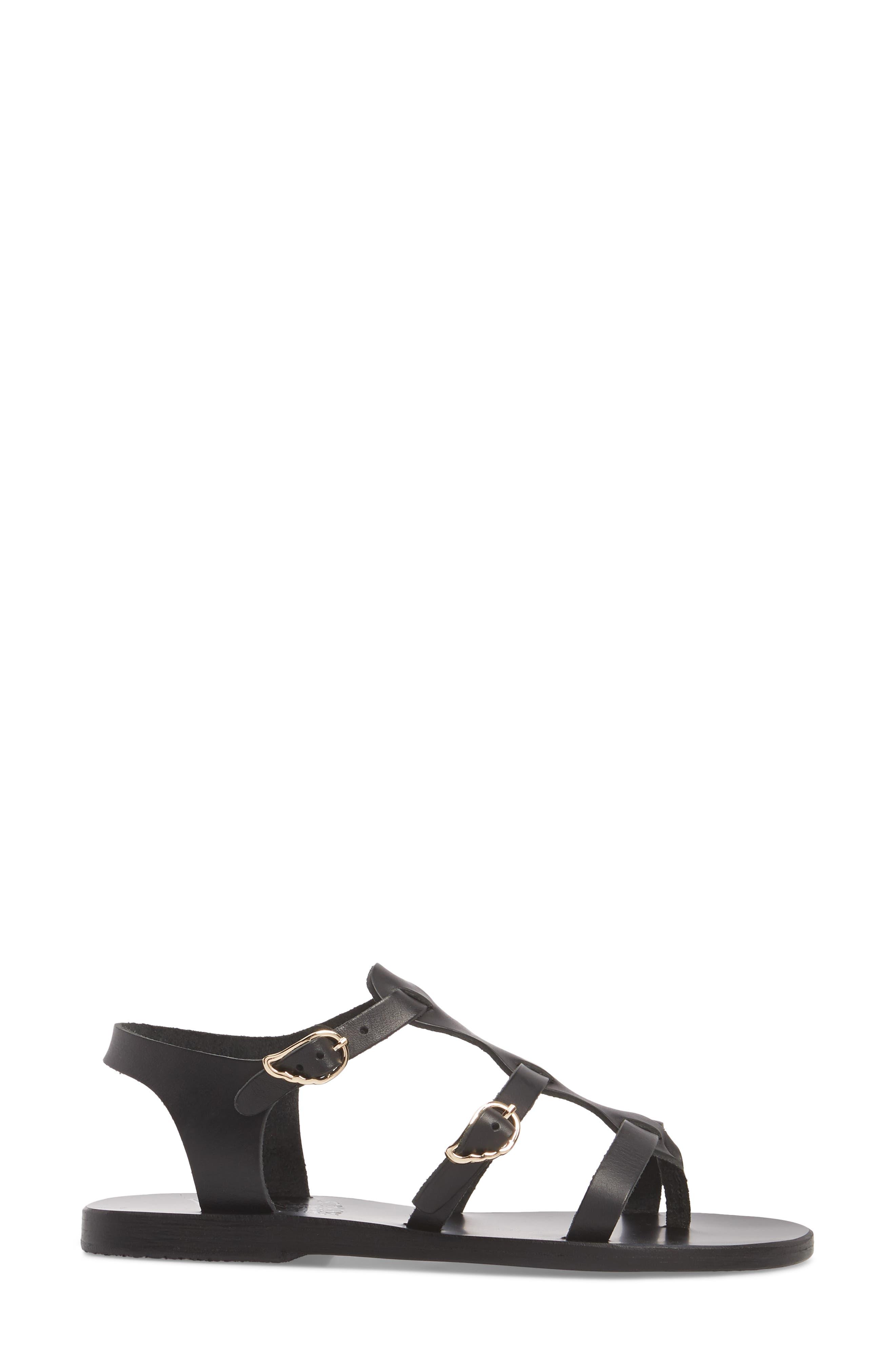 T-Strap Sandal,                             Alternate thumbnail 3, color,                             BLACK