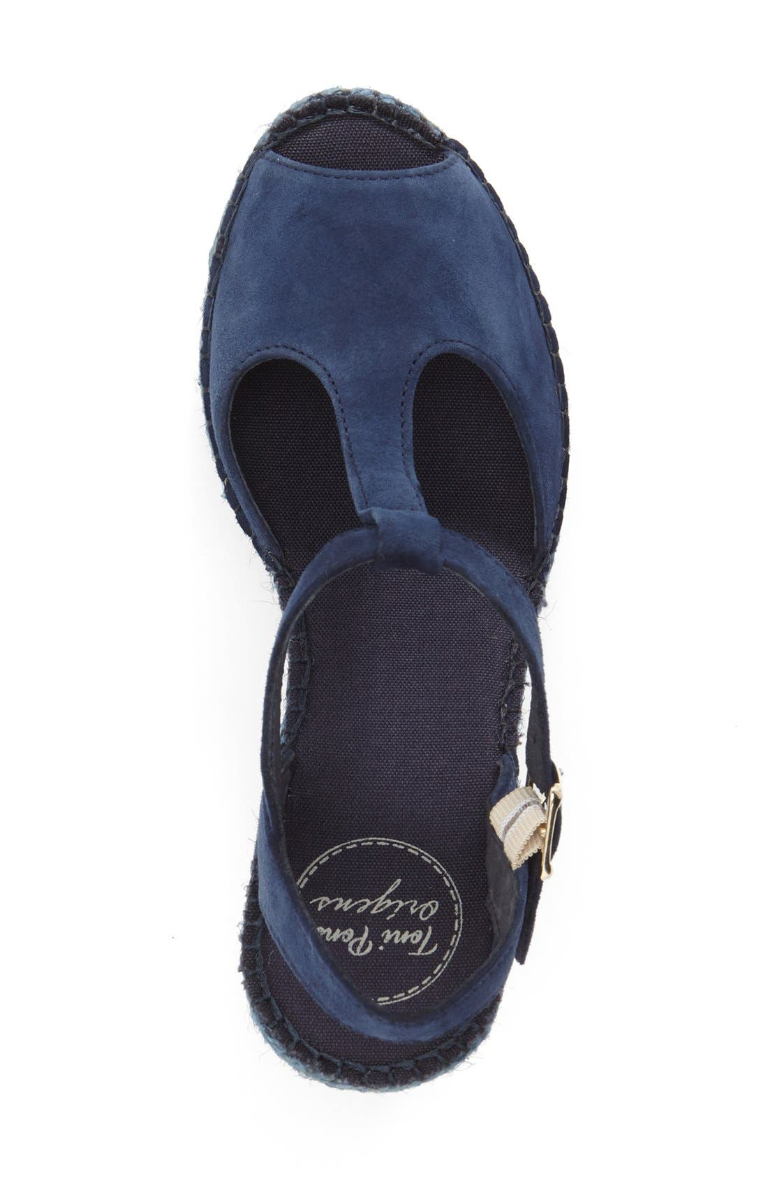 Lidia T-Strap Espadrille Wedge,                             Alternate thumbnail 4, color,                             NAVY SUEDE