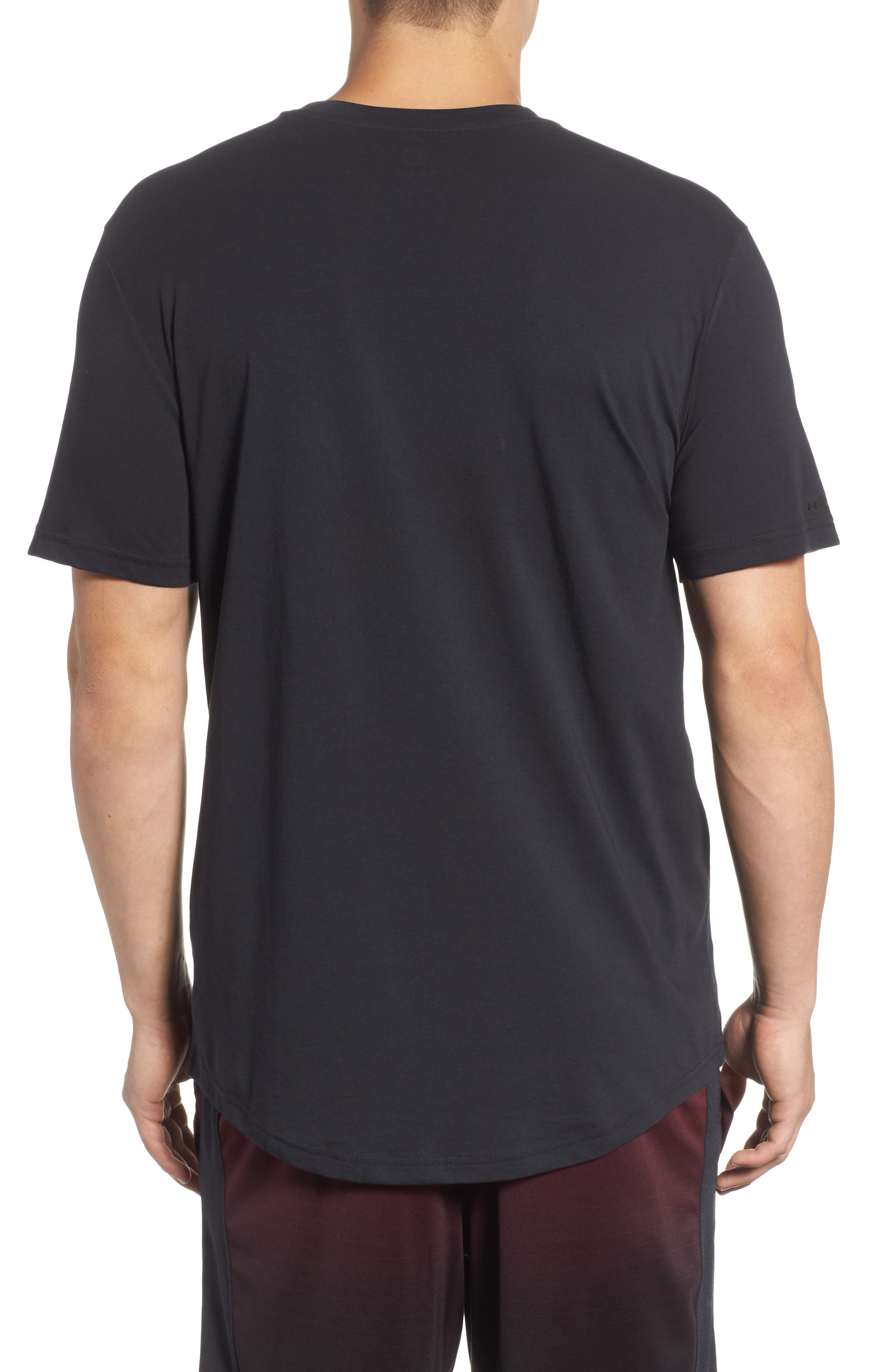 Mesh Panel T-Shirt,                             Alternate thumbnail 2, color,                             BLACK