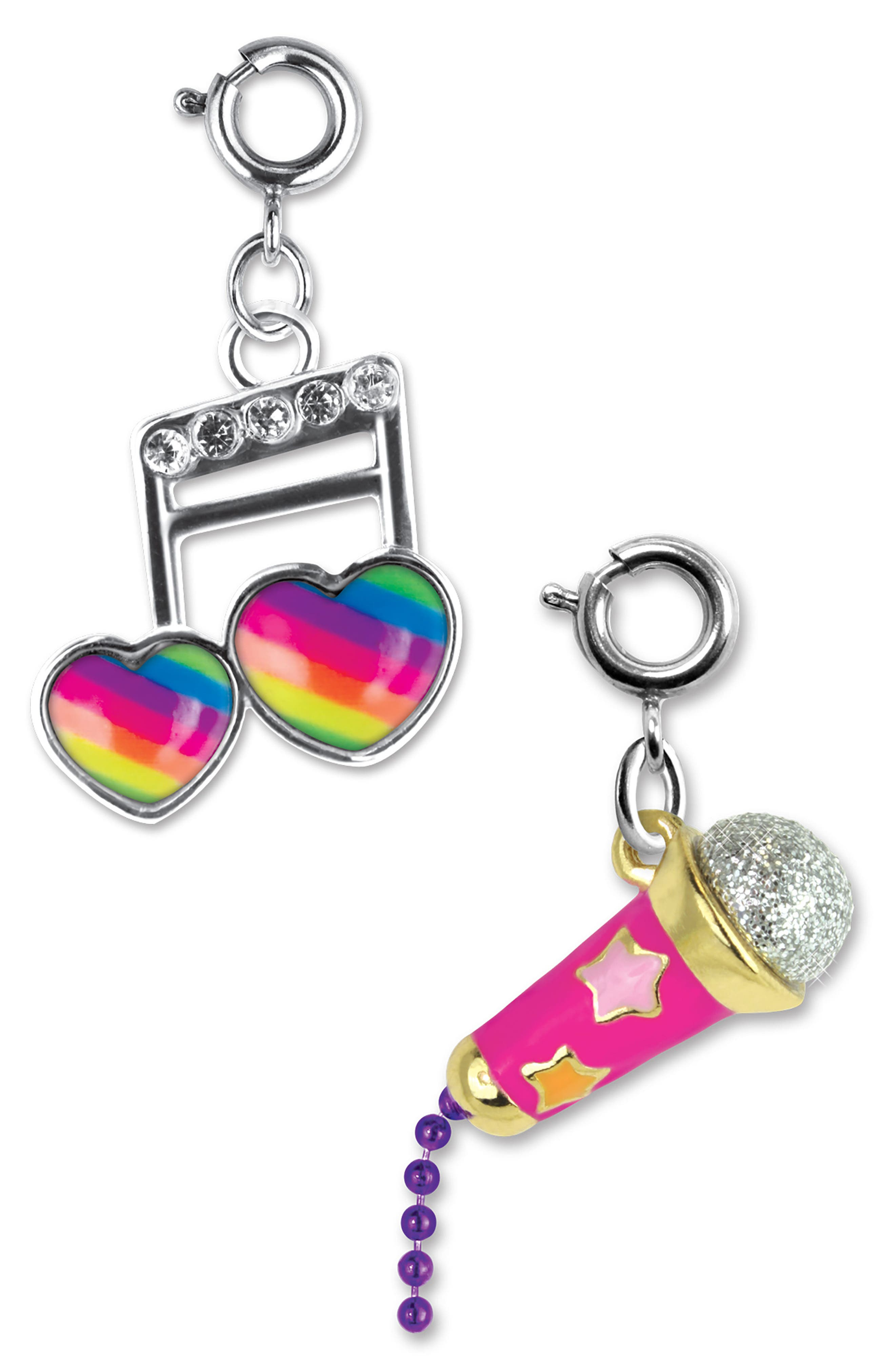 HIGH INTENCITY,                             CHARM IT!<sup>®</sup> 2-Pack Musical Note & Microphone Charms,                             Main thumbnail 1, color,                             650